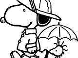 Peanuts Snoopy Rain Gear Coloring Page