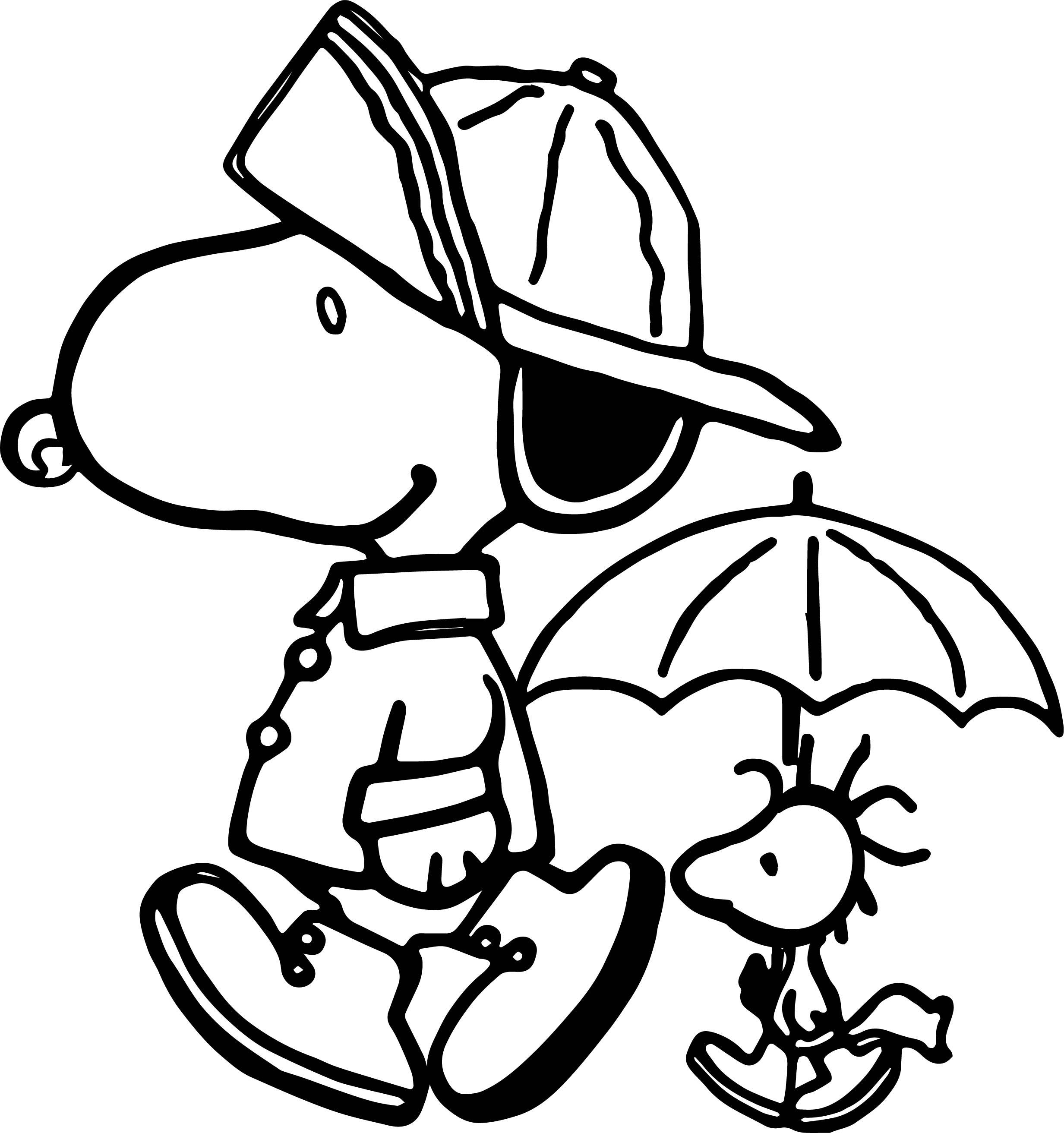 Peanuts Snoopy Rain Gear Coloring Page | Wecoloringpage