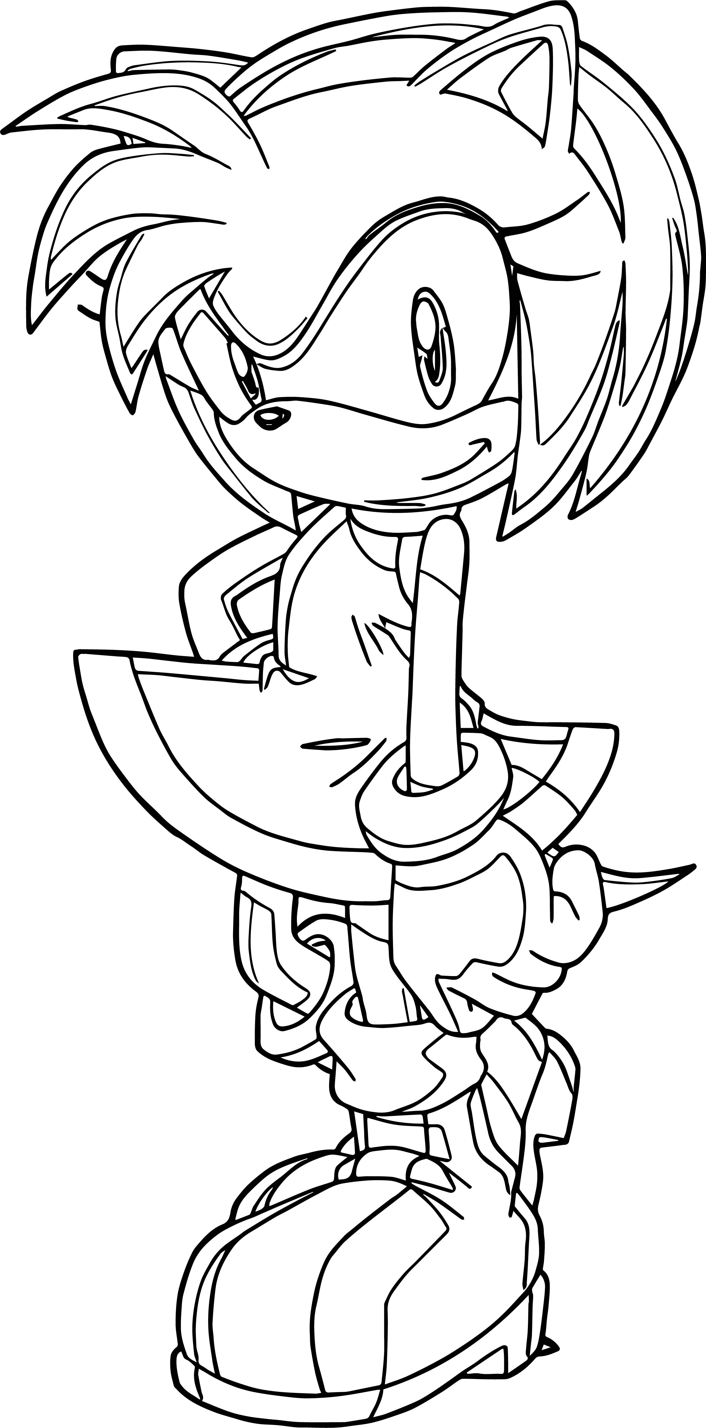 Perfect Cute Amy Rose Coloring Page