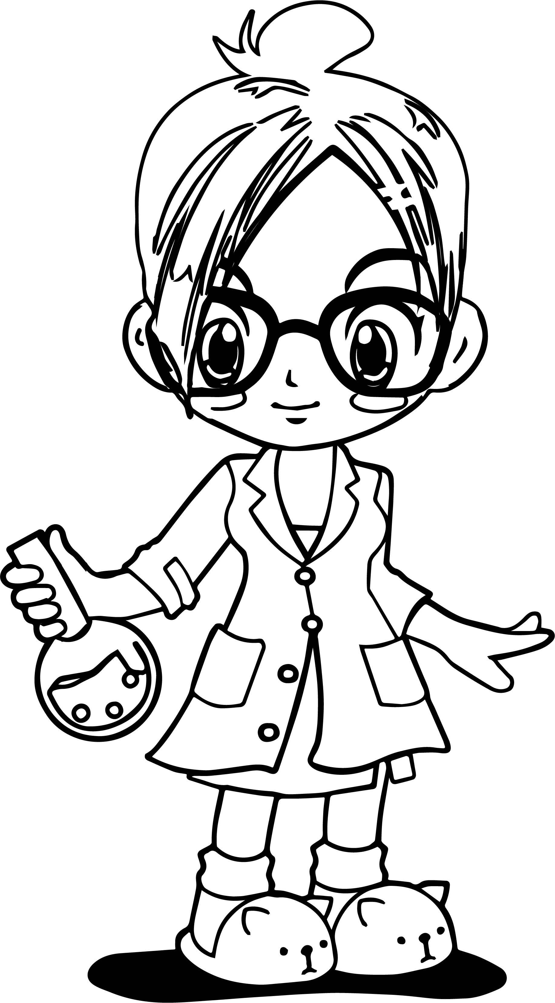 Professor Girl Anime Coloring Page