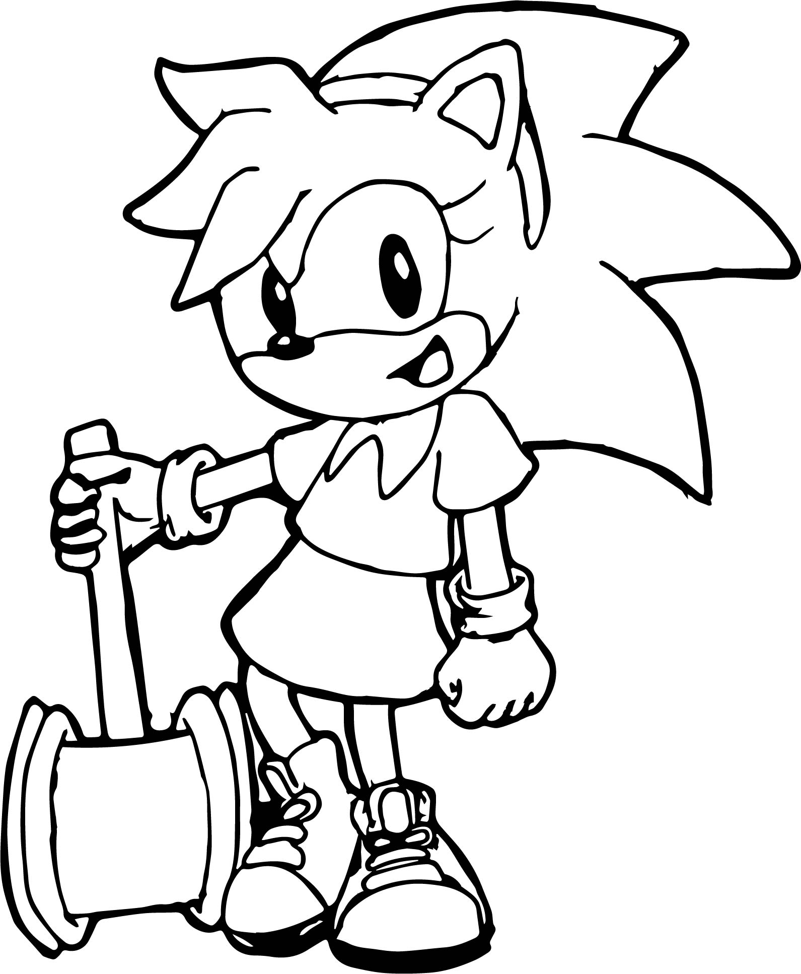 Small Girl Amy Rose Coloring Page