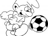 Soccer Smurf Coloring Page