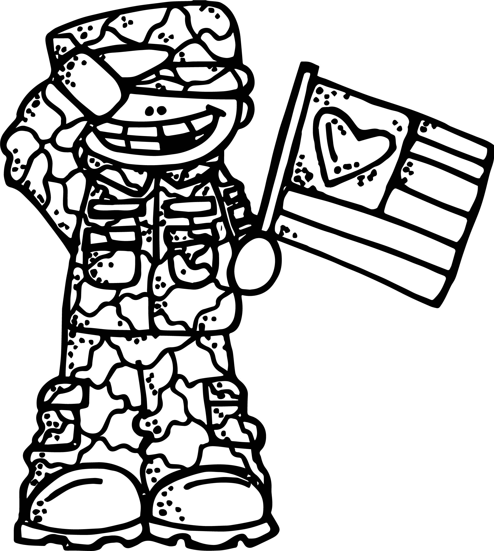 patriotic coloring pages - soldier boy flag coloring page