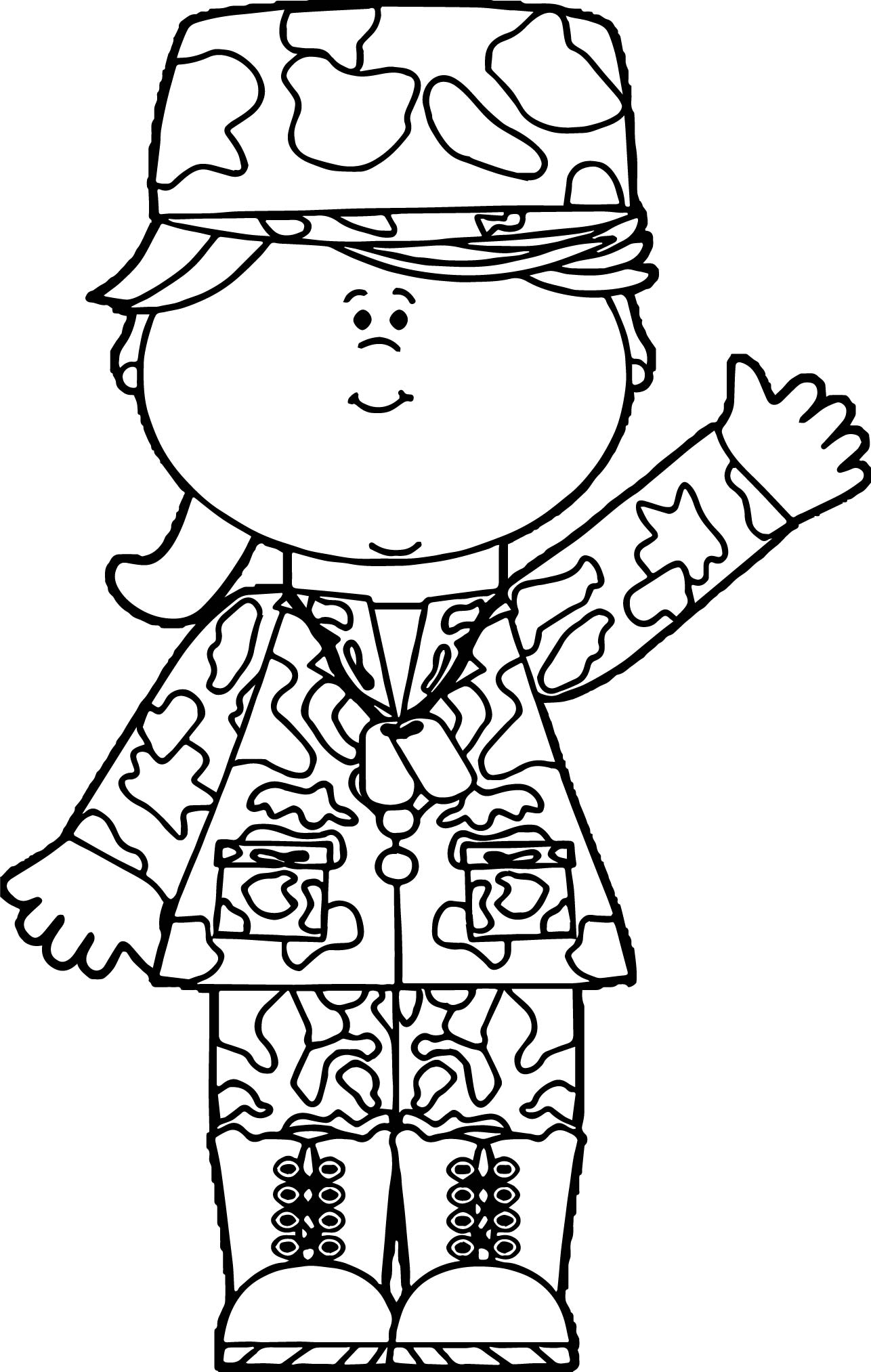 soldier girl waving coloring page - Soldier Coloring Pages