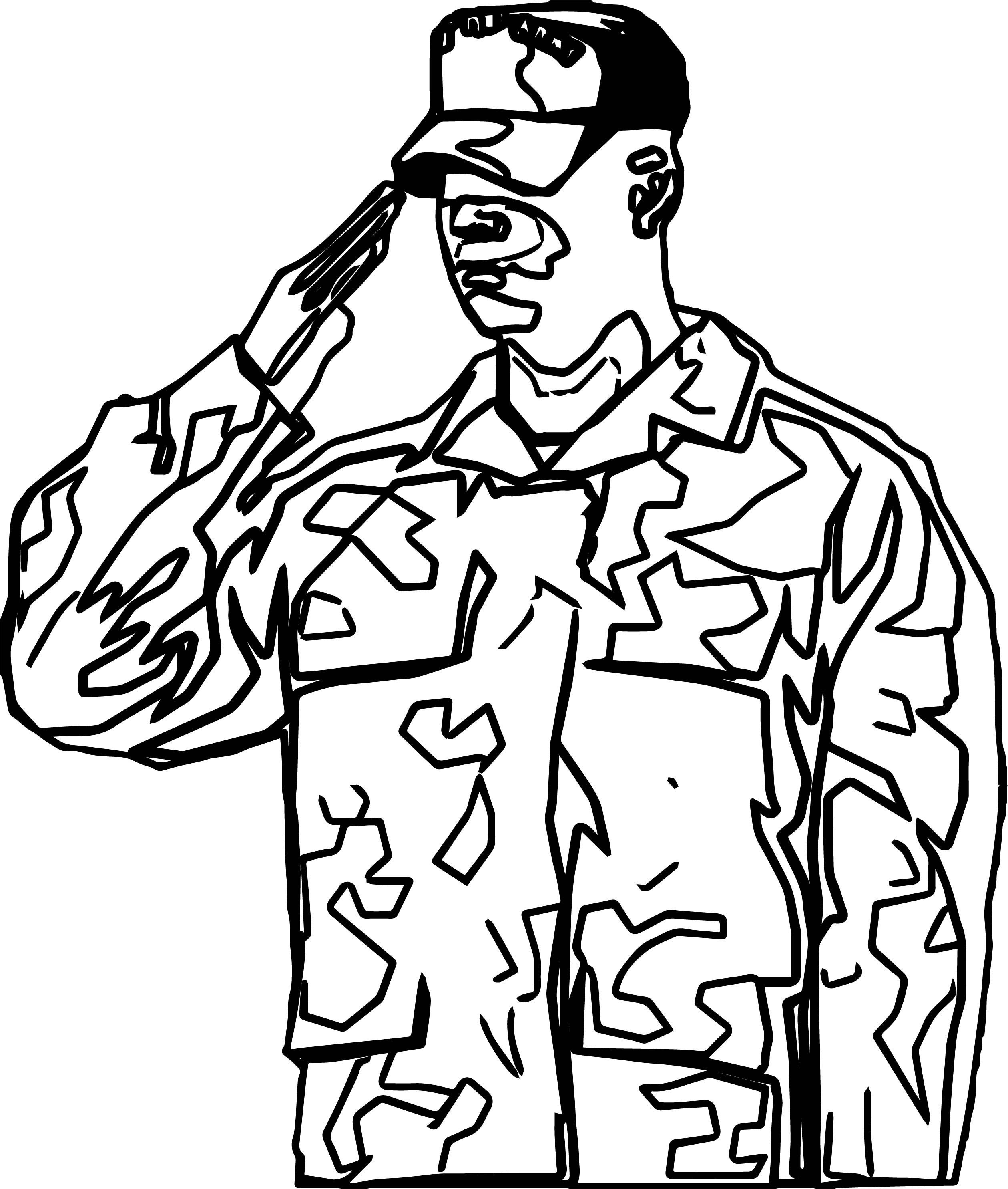 Soldier Salute Coloring Page Wecoloringpage Com