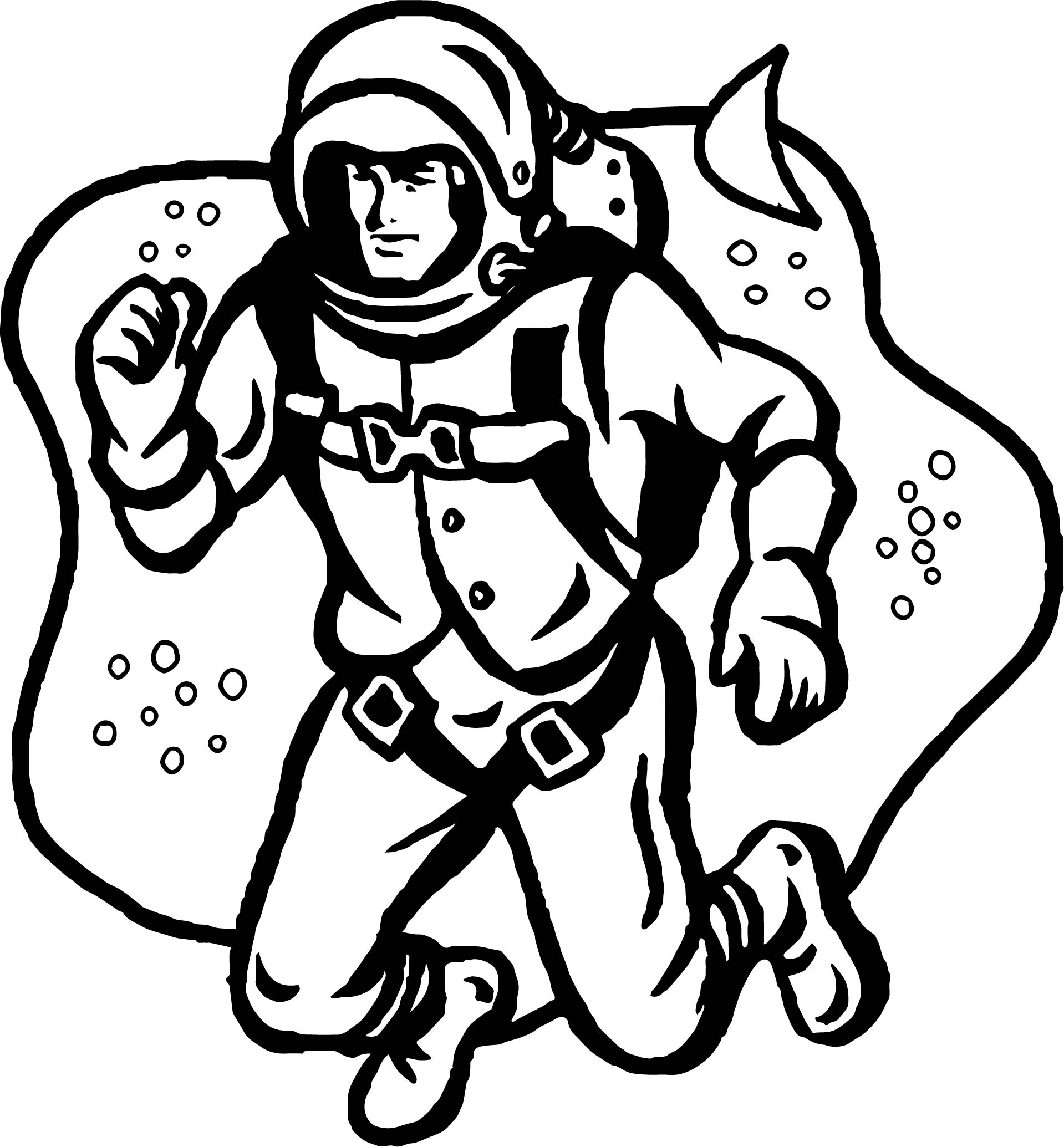 Space Astronaut Fly Coloring Page