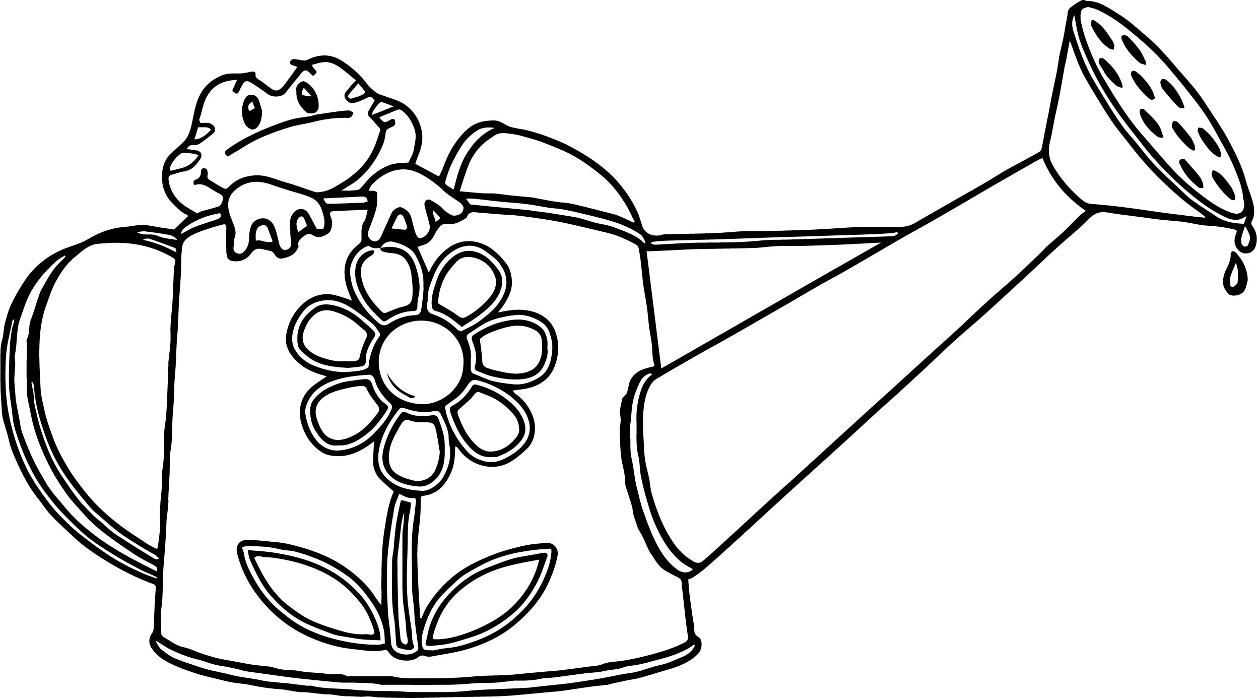 spring frog water cup coloring page wecoloringpage