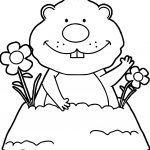Spring Groundhog Coloring Page