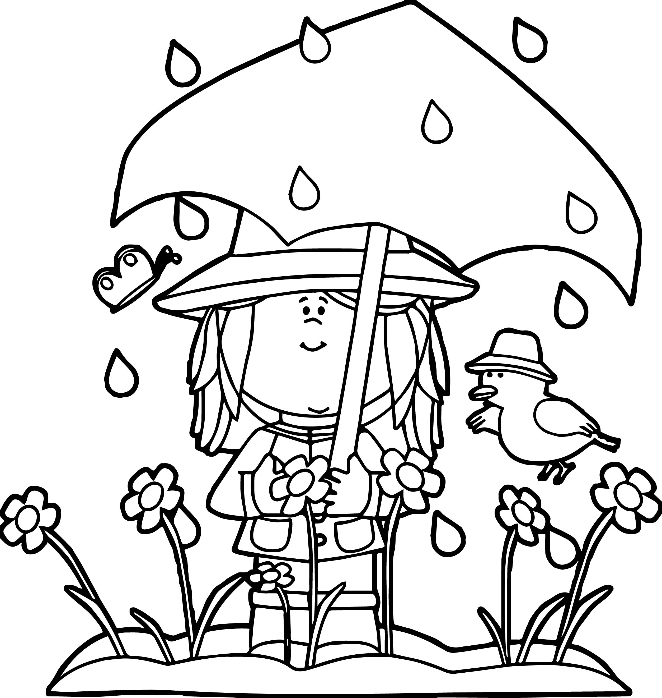 coloring pages about spring - spring showers coloring page