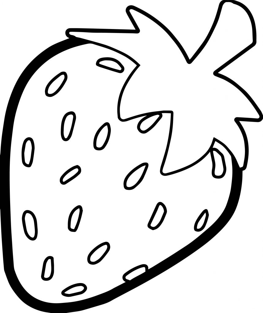 Strawberry Bold Outline Coloring Page on Fresh Fruit