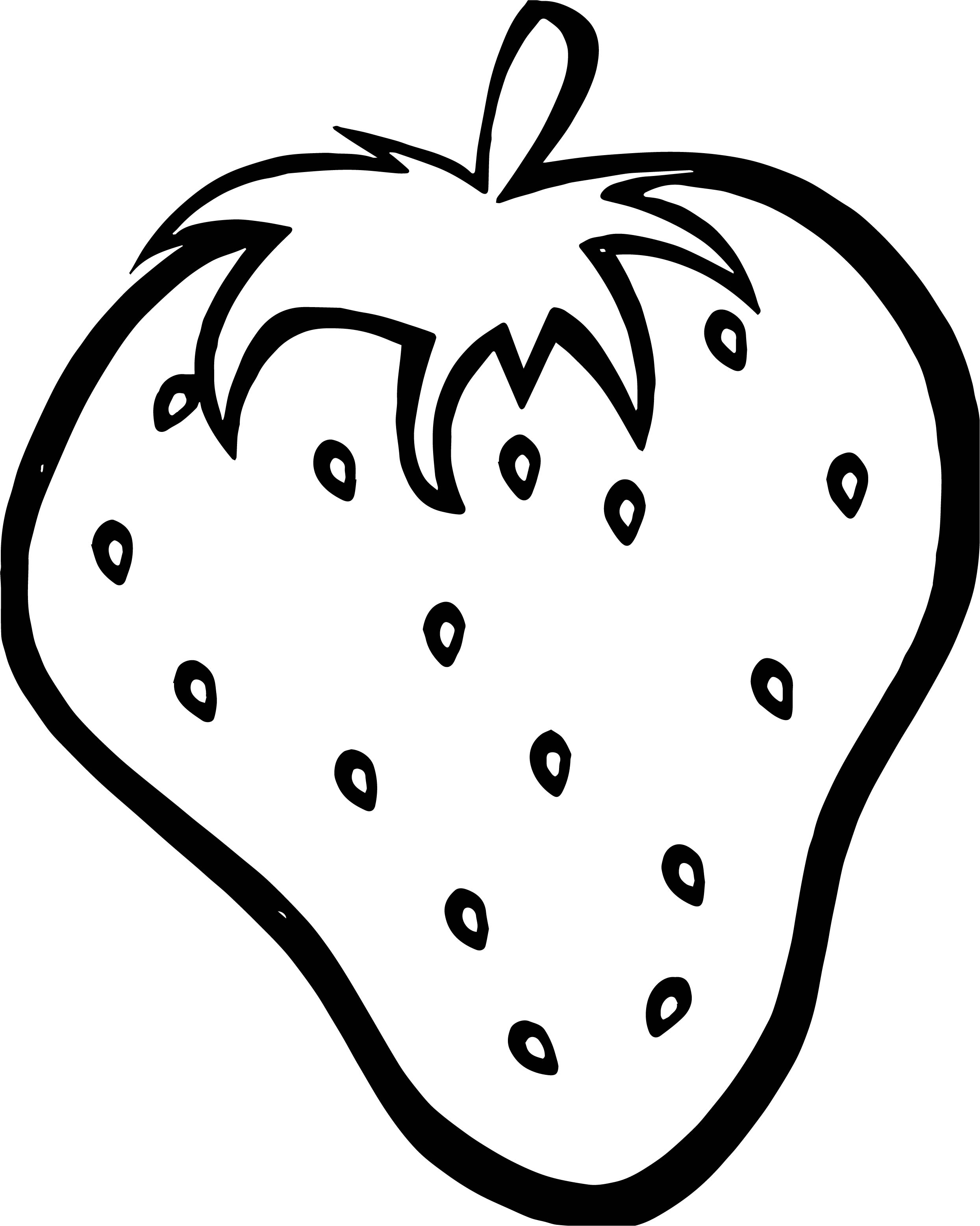 Strawberry Cute Free Coloring Page