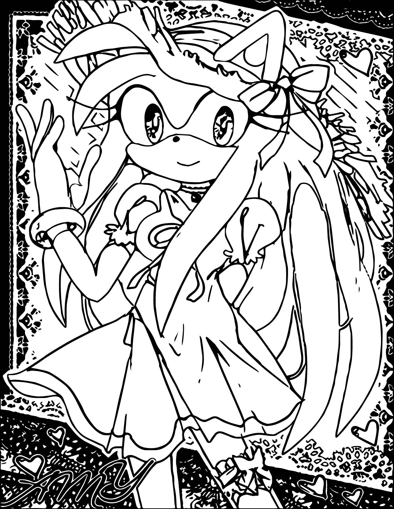 Successful Amy Rose Coloring Page