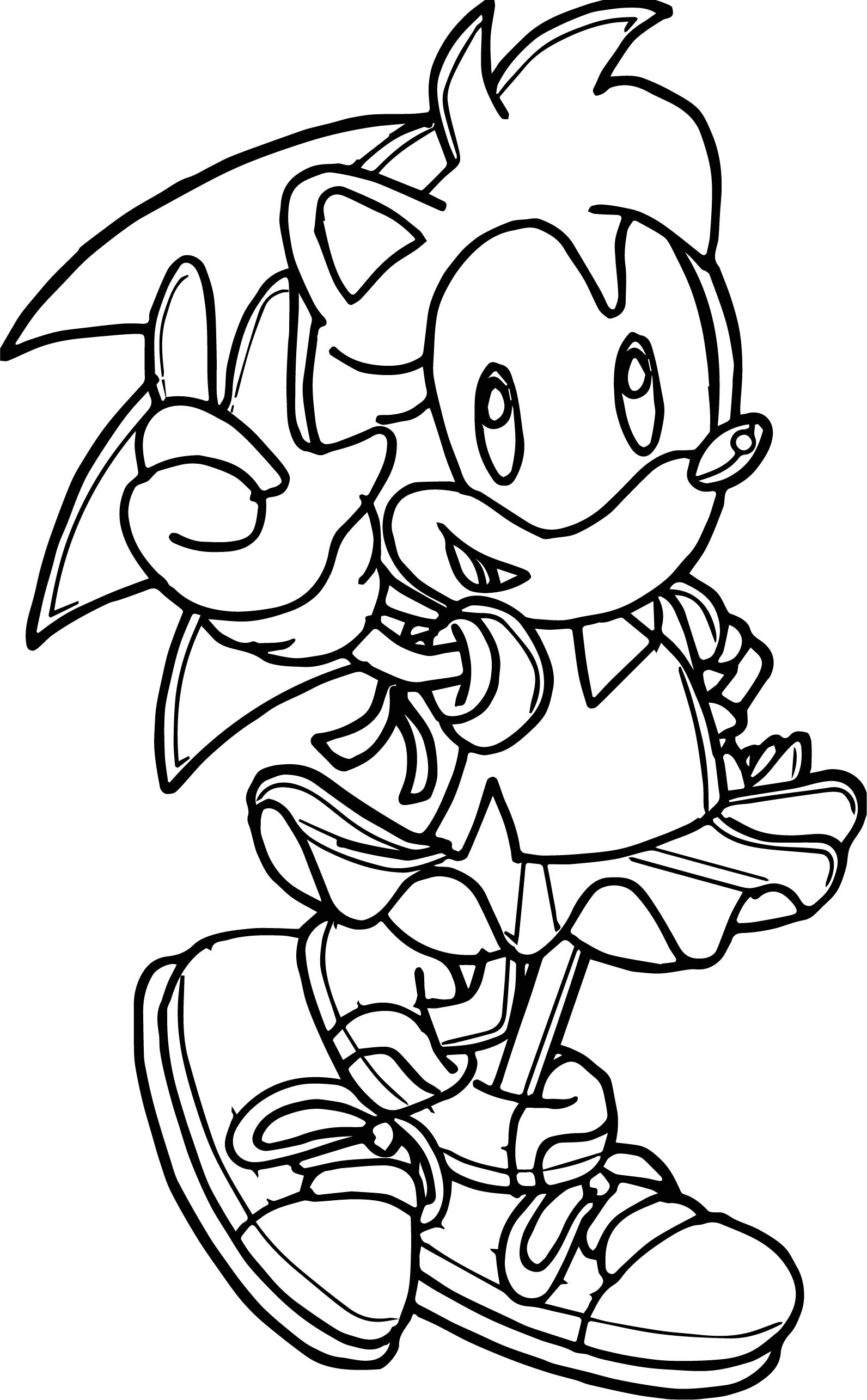 Three Amy Rose Coloring Page