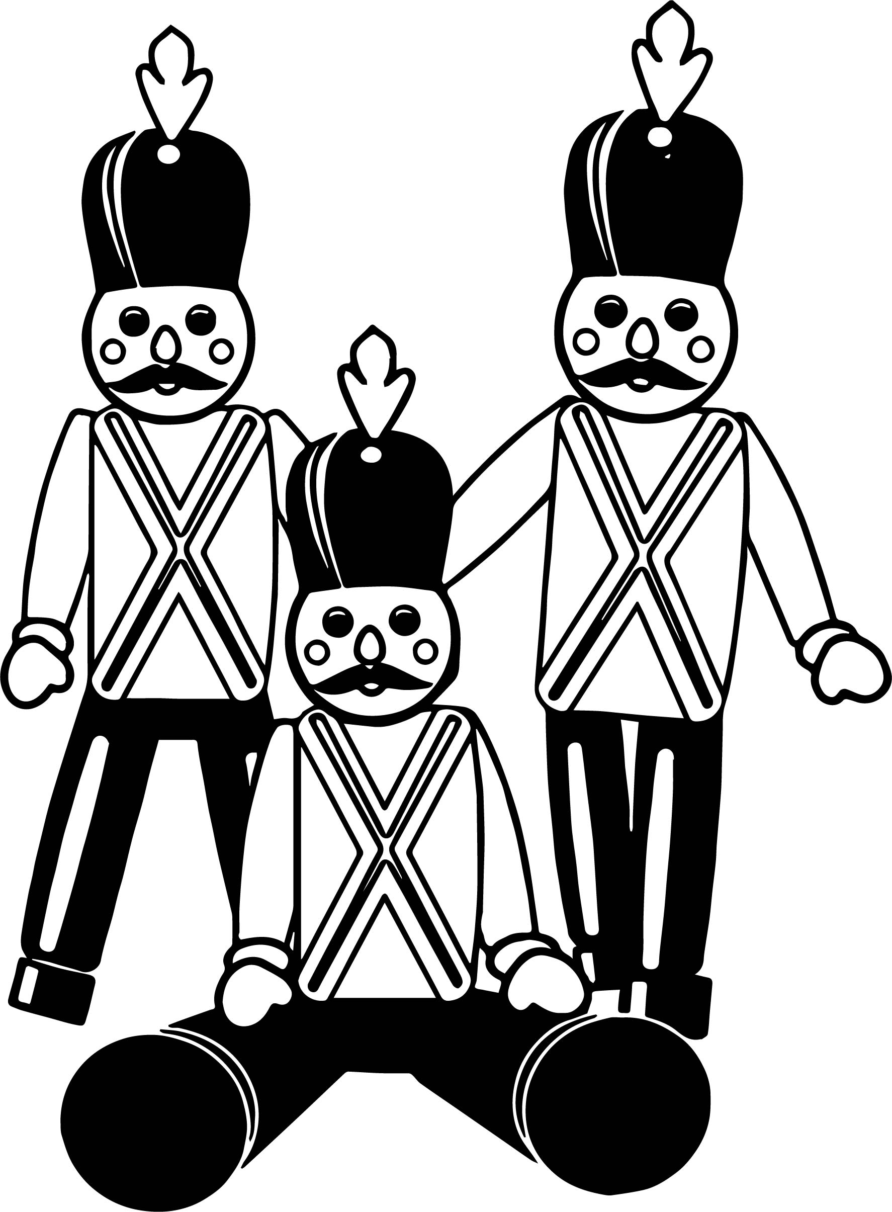 Three Toy Soldiers Coloring Page