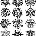 Twelve Fantastic Snowflake Coloring Page