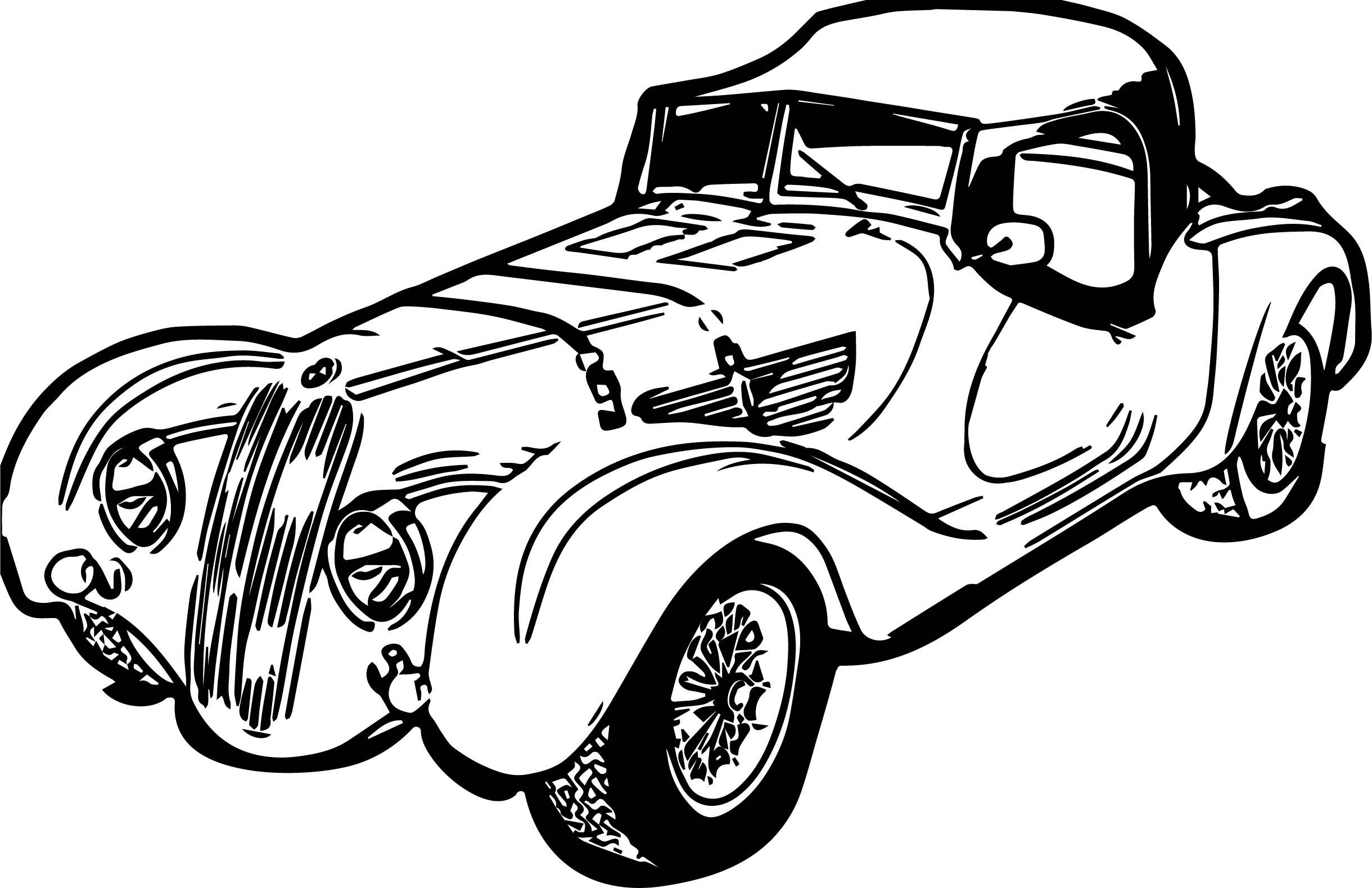 Vintage Antique Long Car Coloring Page