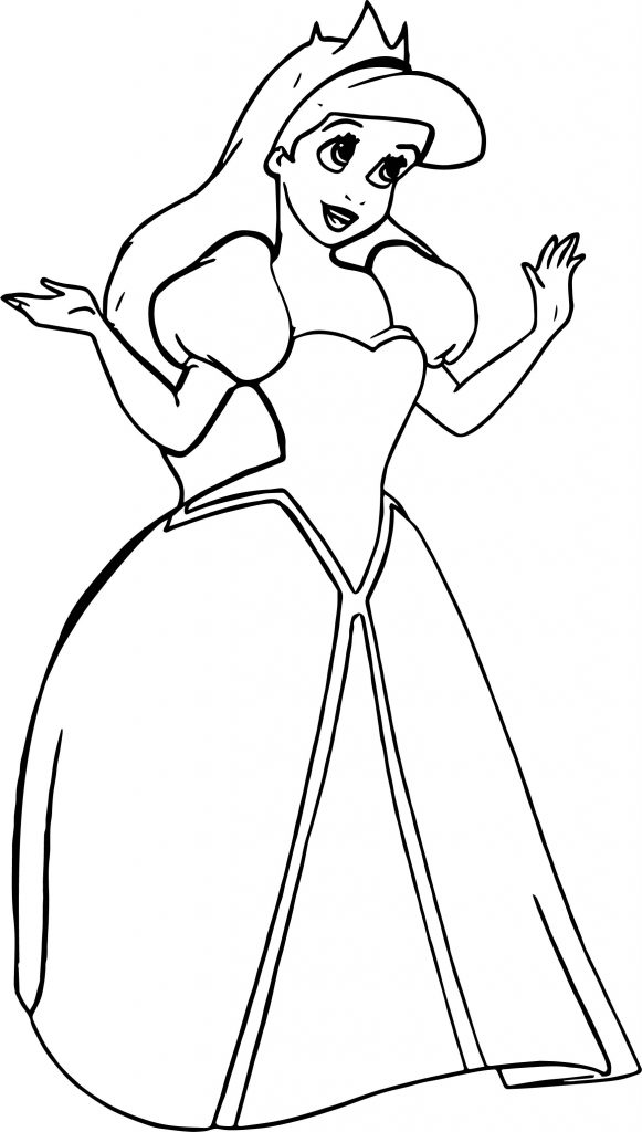 ariel coloring pages wedding flowers | Wedding Princess Ariel Coloring Page | Wecoloringpage.com