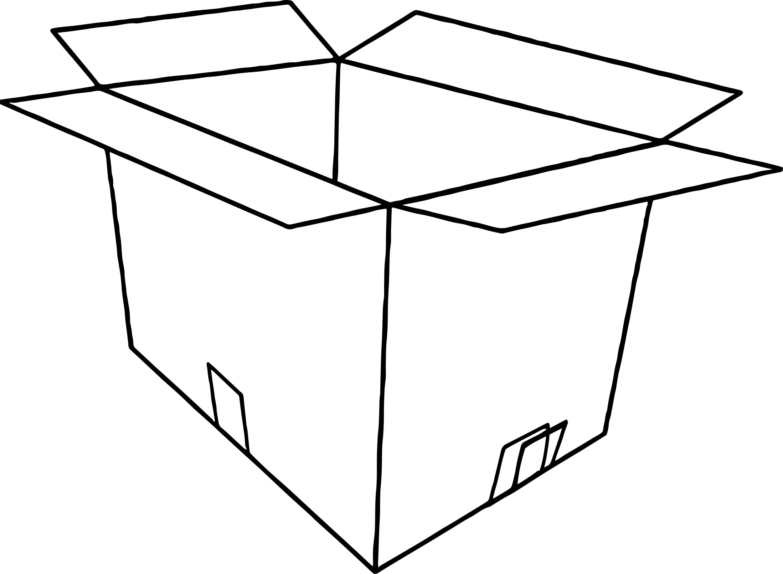 3d Empty Open Box Coloring Page
