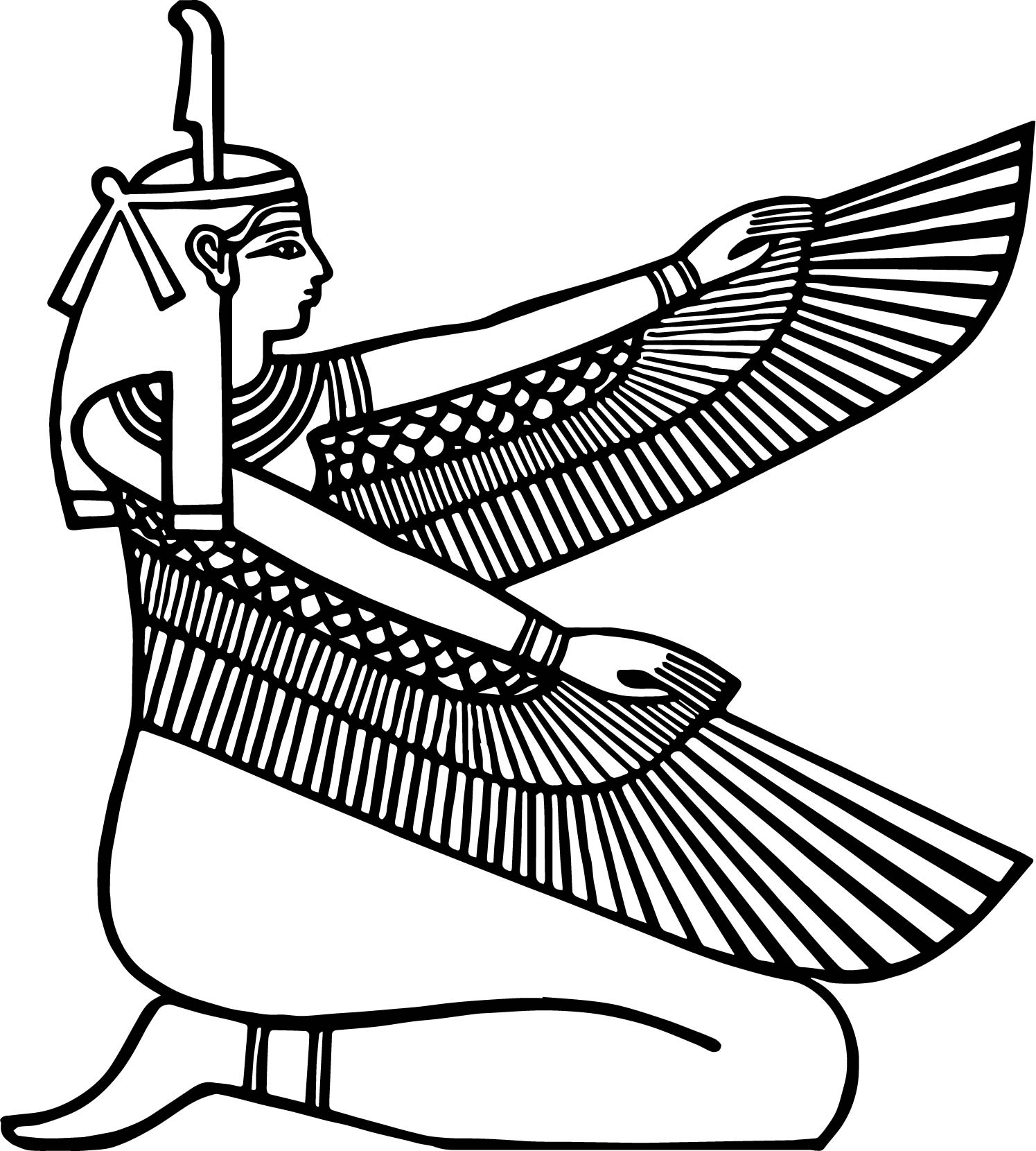 Ancient egypt bird woman coloring page for Egyptian coloring page