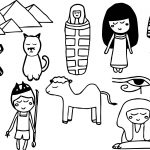 Ancient Egypt Kids Set Coloring Page