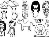 Ancient Egypt Kids Set Coloring Page