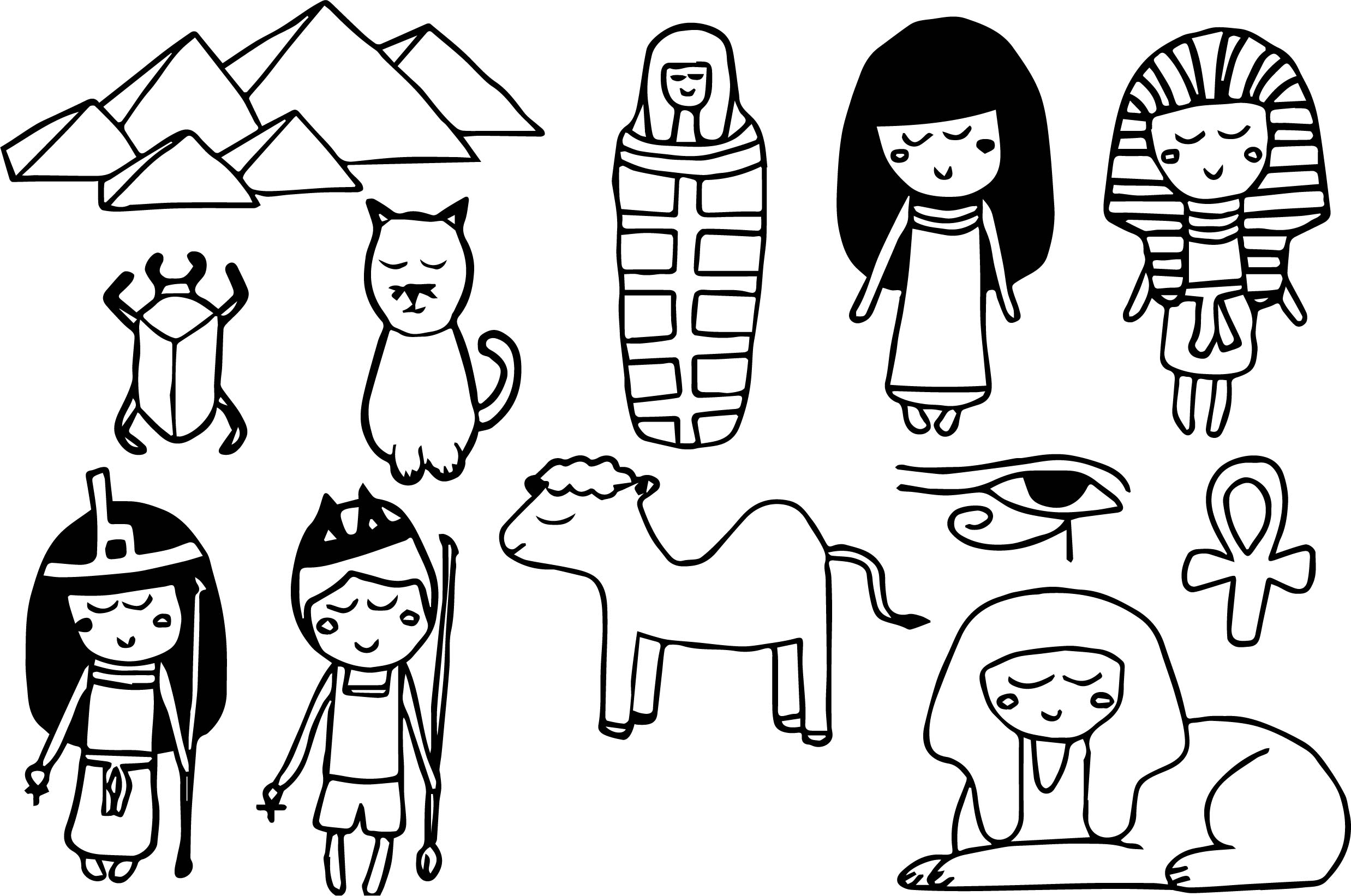 Ancient Egypt Kids Set Coloring Page | Wecoloringpage.com