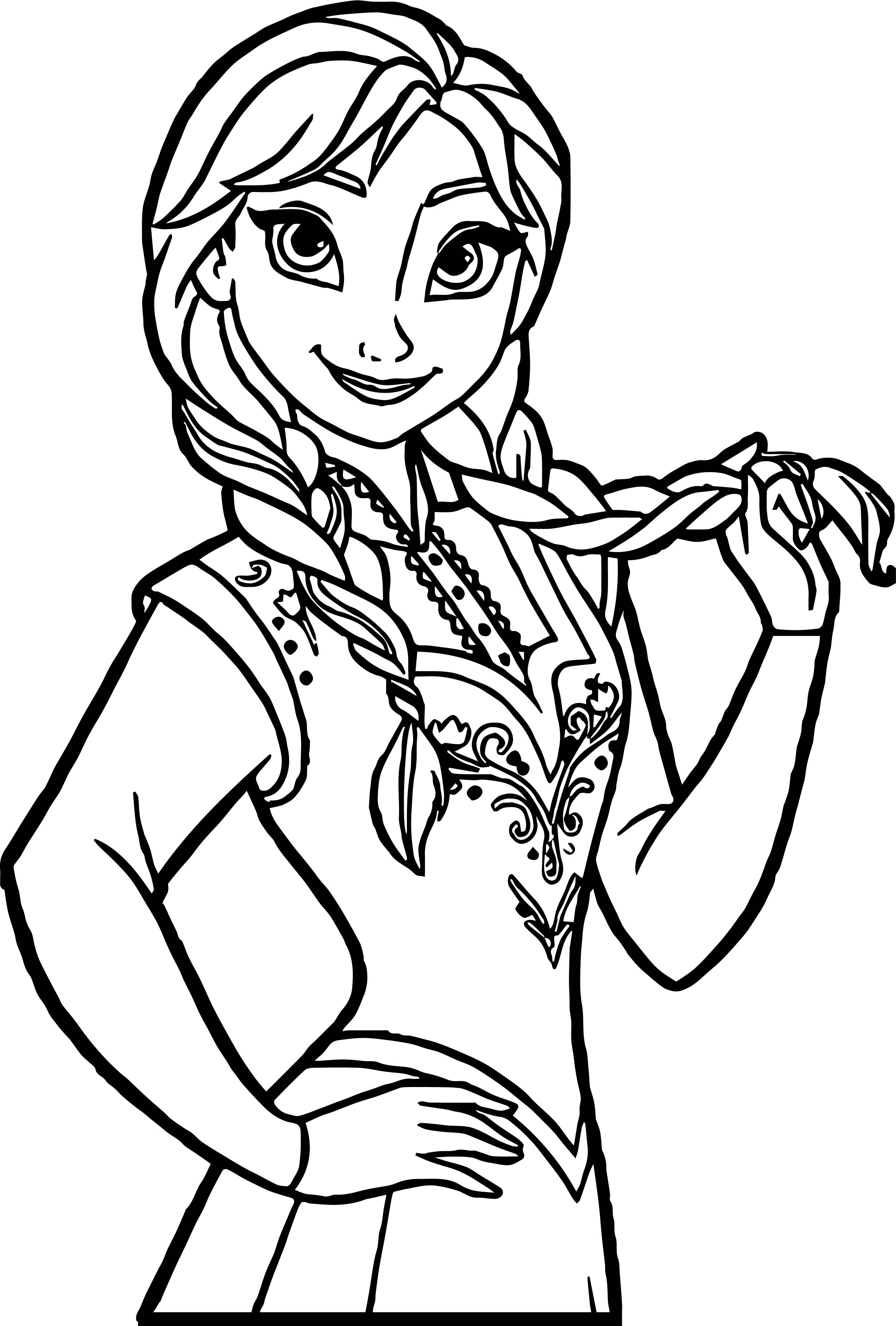Anna Braids Coloring Page