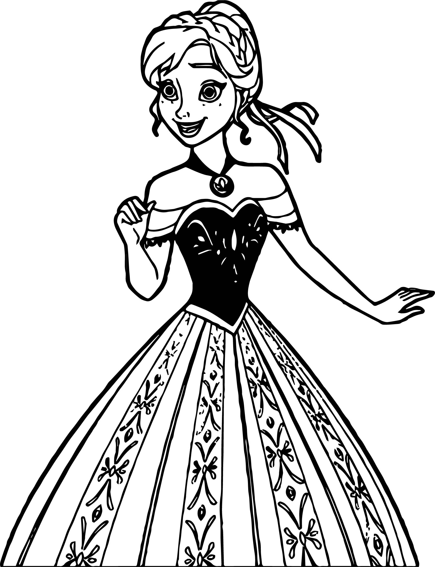 A new coat for anna coloring pages ~ Anna Dress New Coloring Page | Wecoloringpage.com