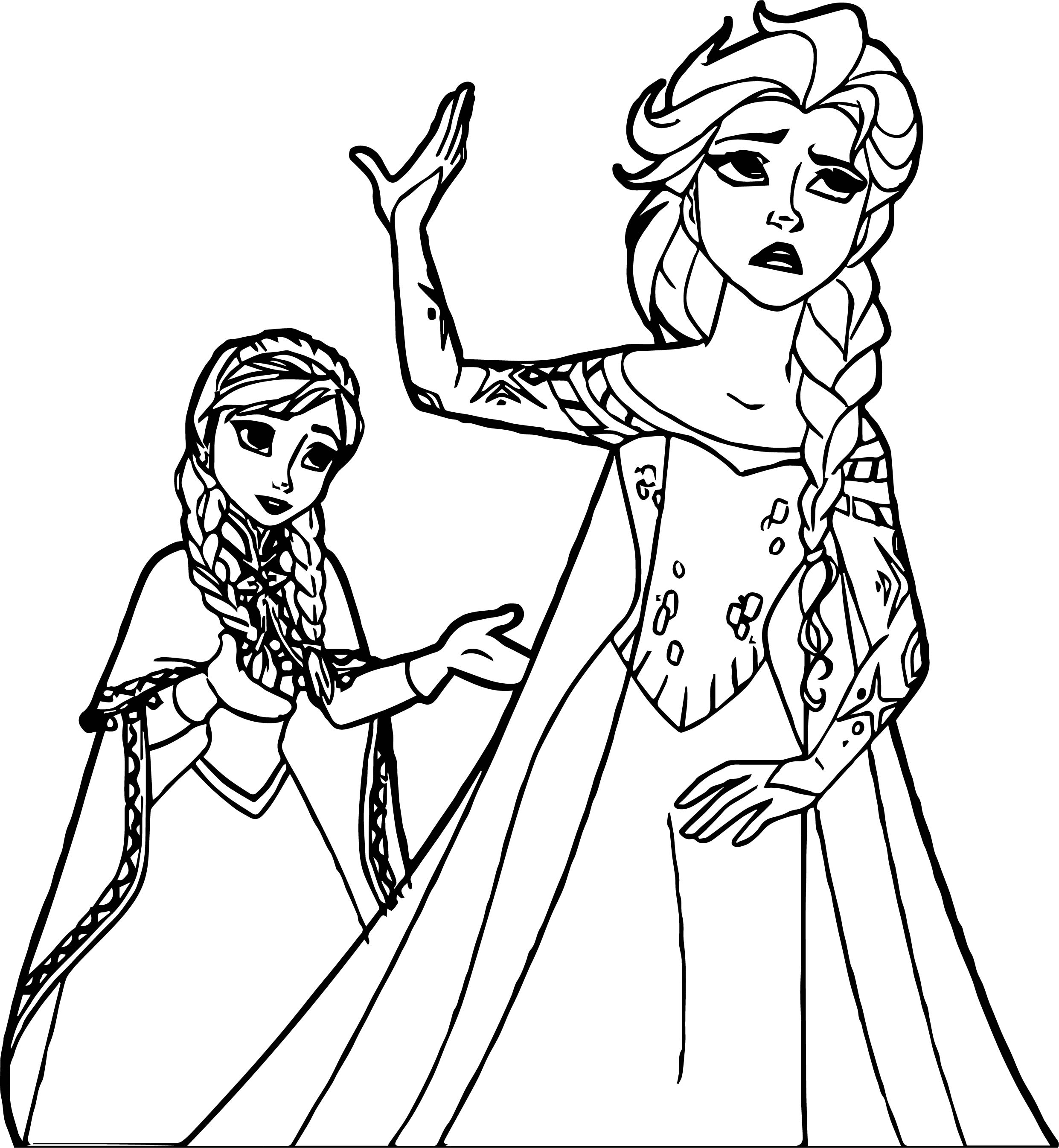 Anna Elsa Don't Speak Coloring Page