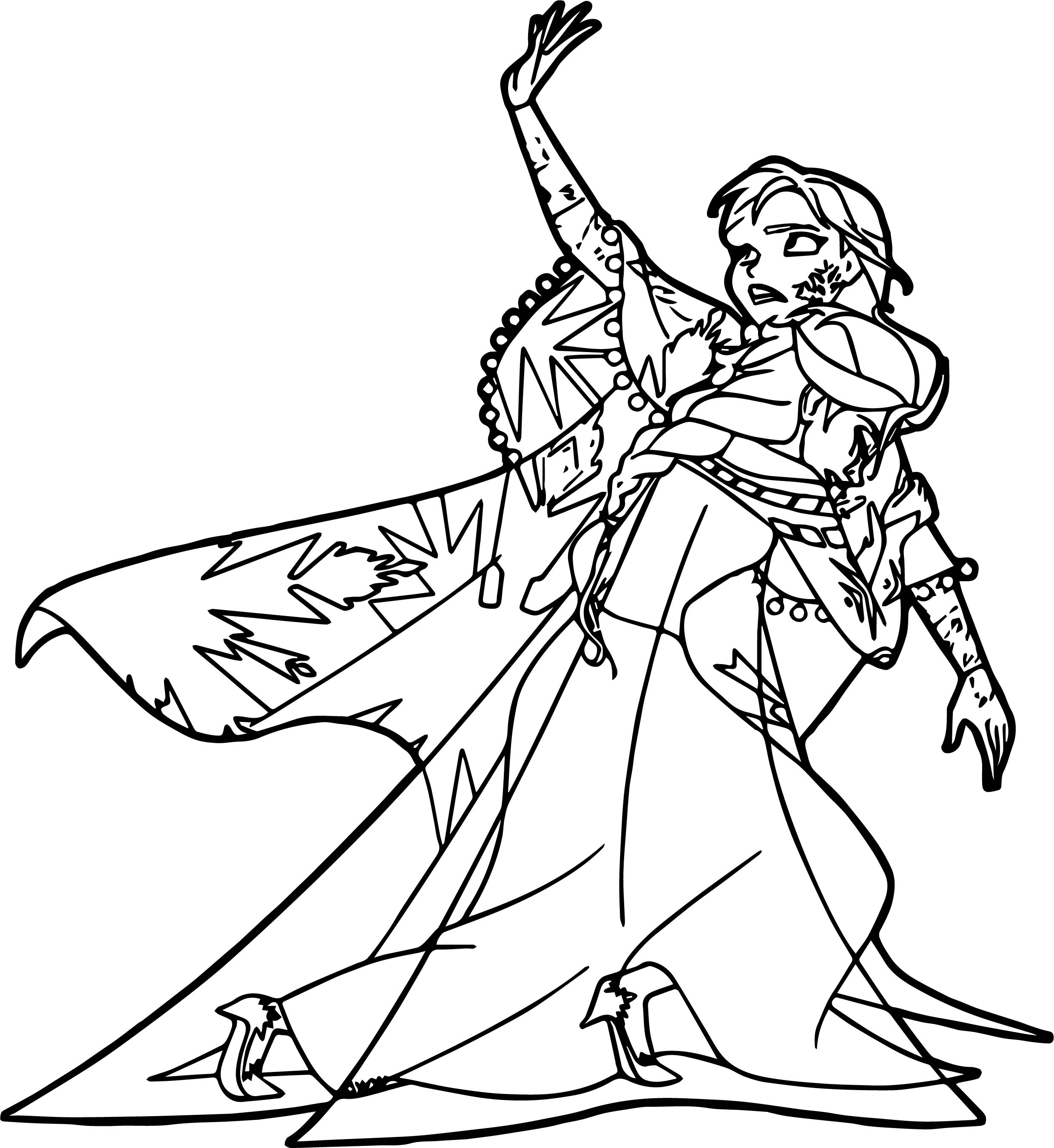 Anna Elsa Frozen No Please Coloring Page