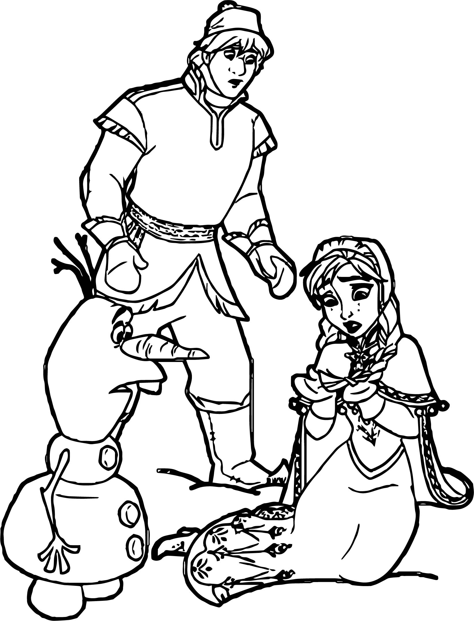 Anna Kristoff Olaf Coloring Page