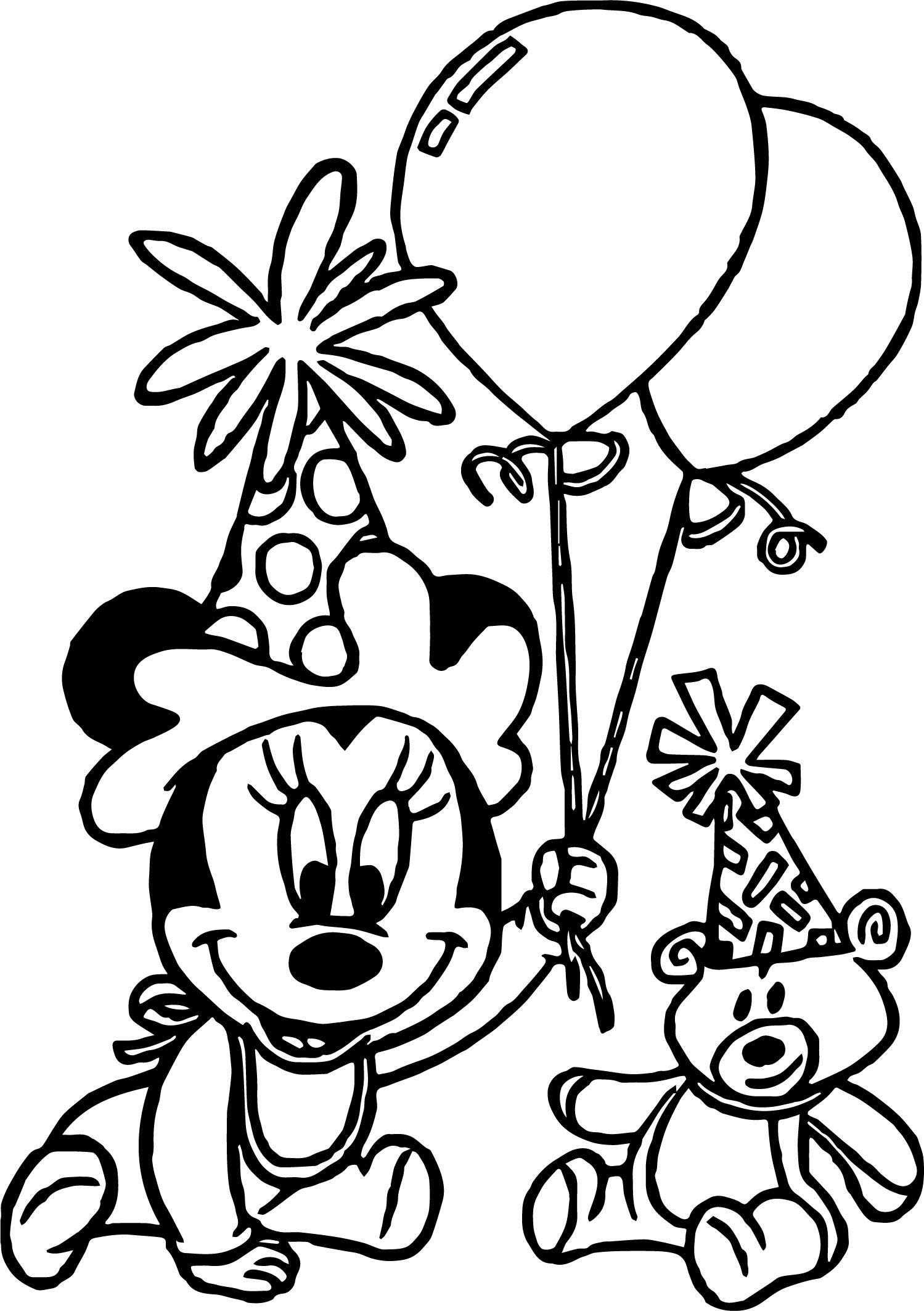 Any Baby Minnie Mouse Birthday Party Coloring Page | Wecoloringpage