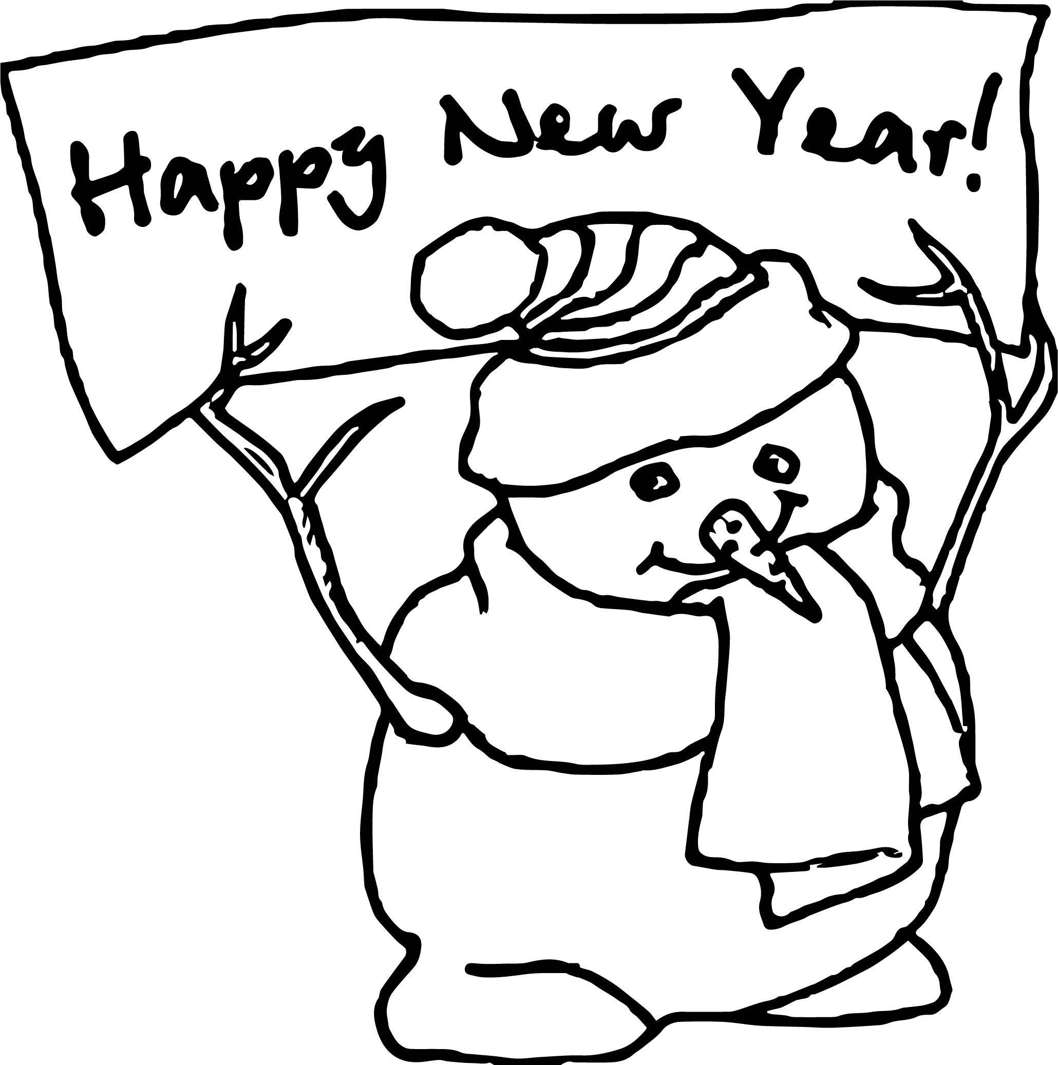 Any Happy New Year Snowman Coloring Page | Wecoloringpage