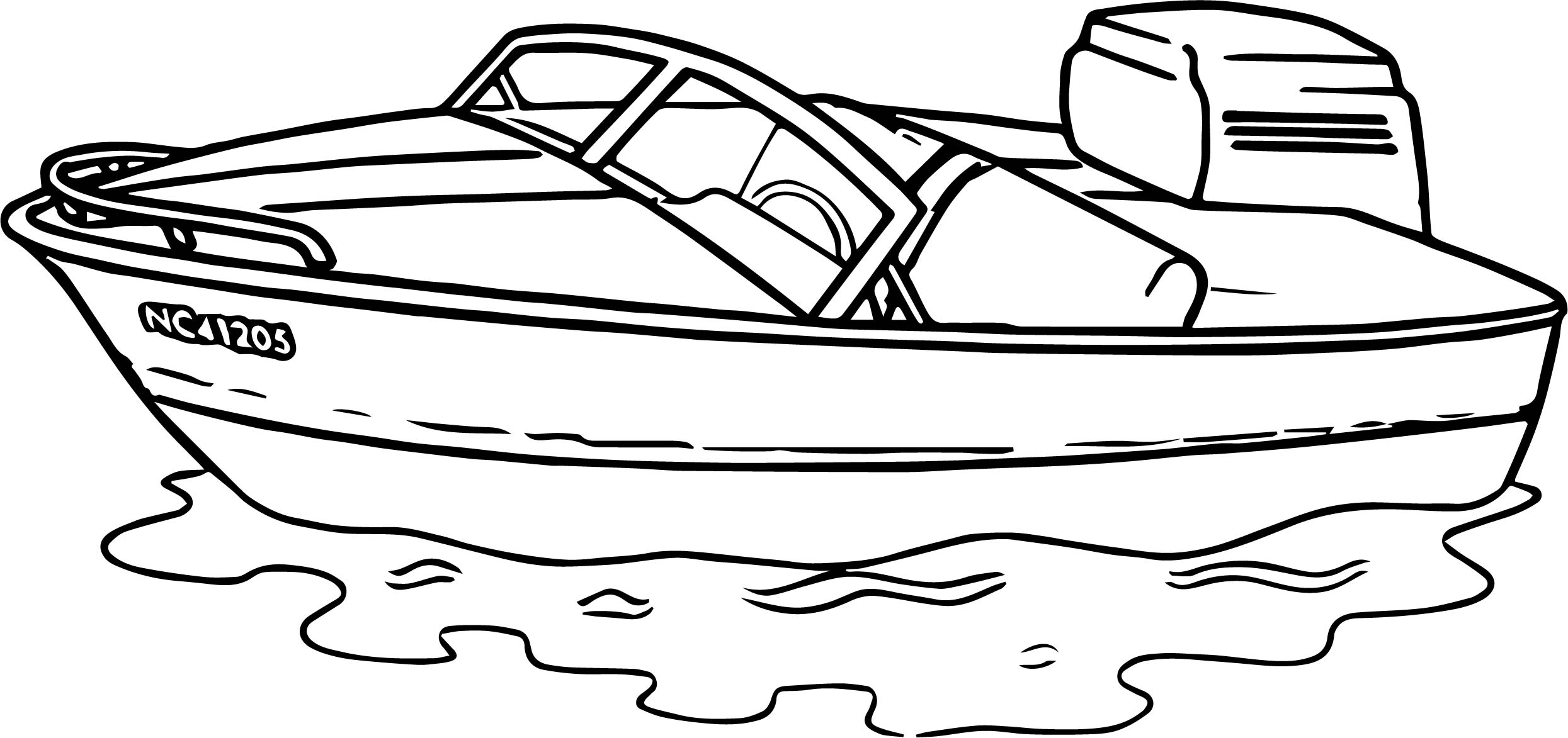 aquatic coloring pages - any motorboat aquatic coloring page