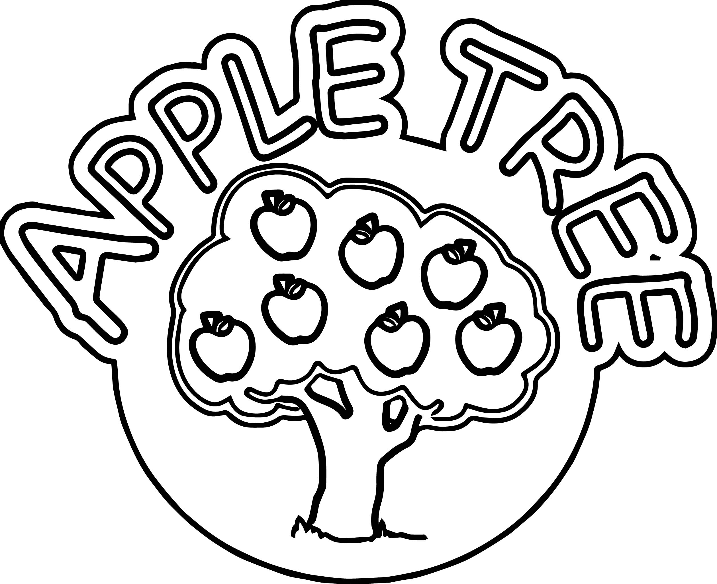Cartoon Apple Coloring Pages : Apple tree coloring book
