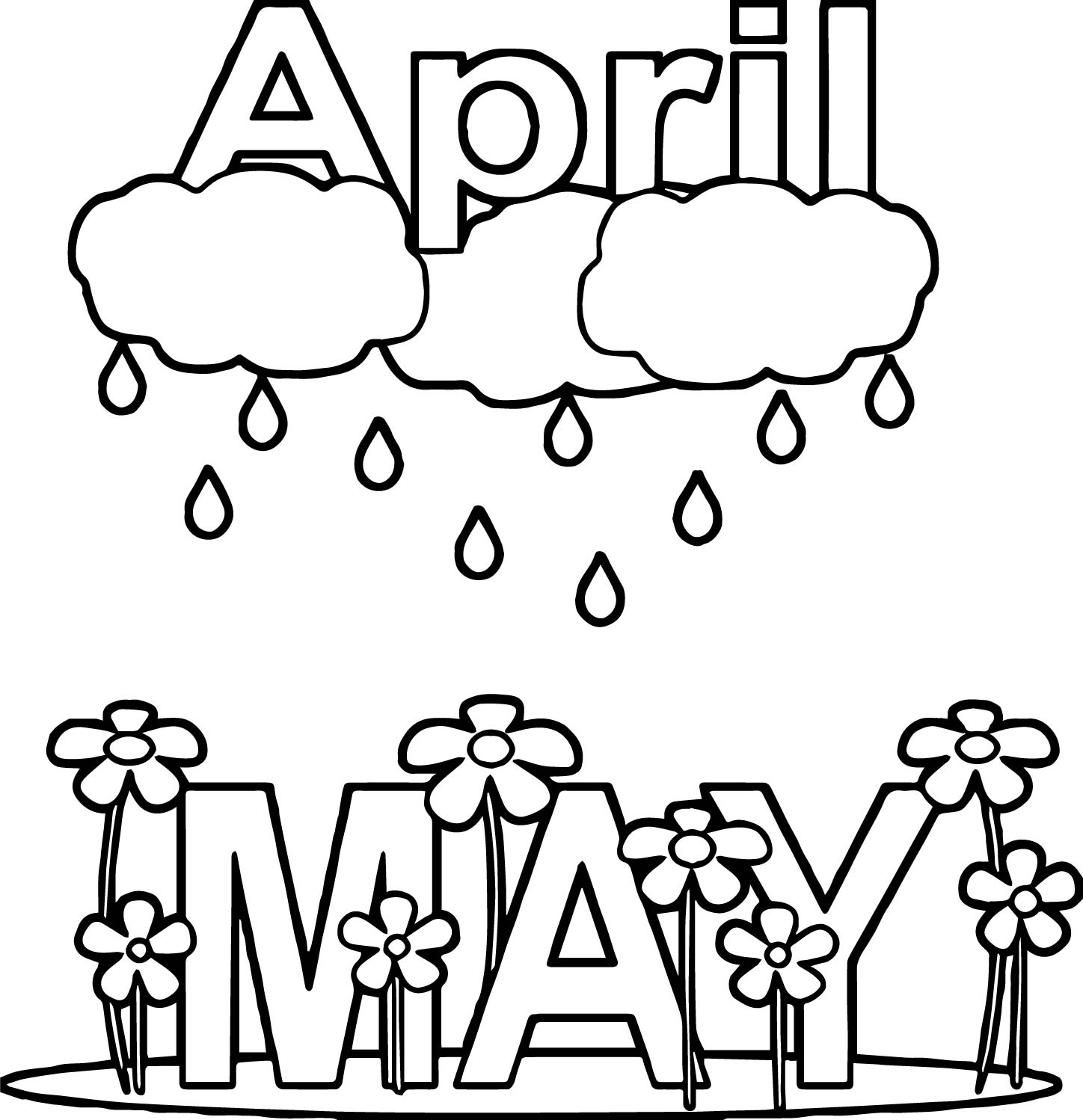 Rain Coloring Pages: April Shower May Rain Flower Coloring Page