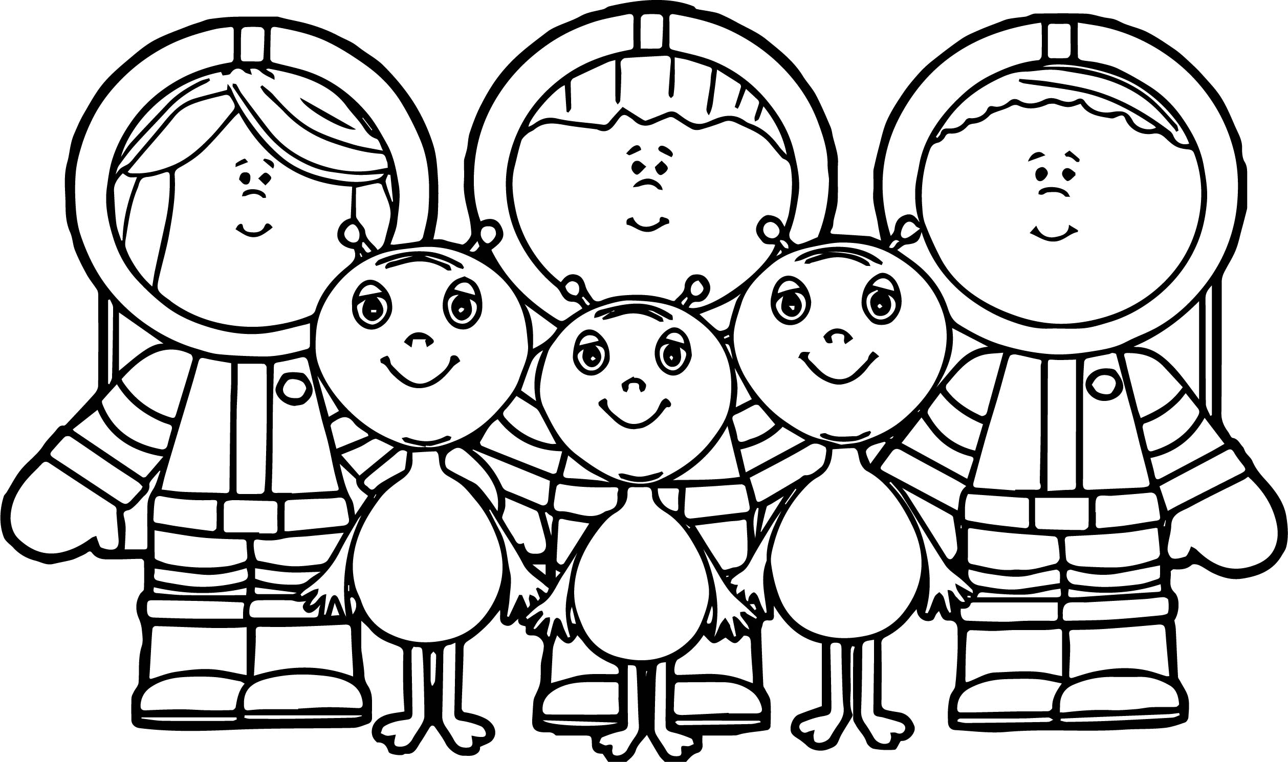 Astronaut Childrens Aliens Coloring Page