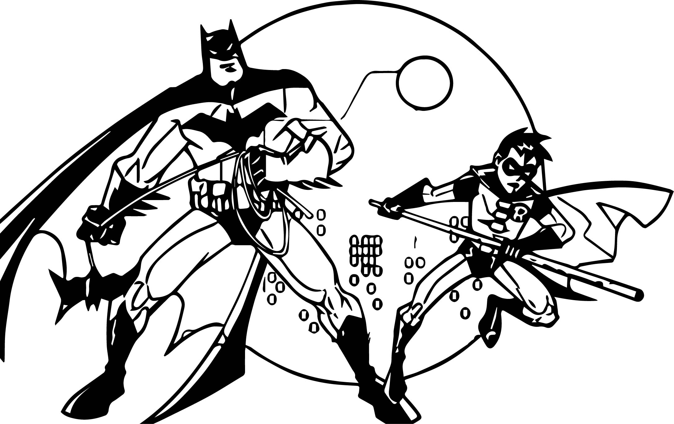Batman And Robin Cartoon Coloring Page
