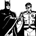 Batman And Robin Cartoon Kick Hand Coloring Page
