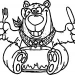 Birthday Bear Cake Coloring Page