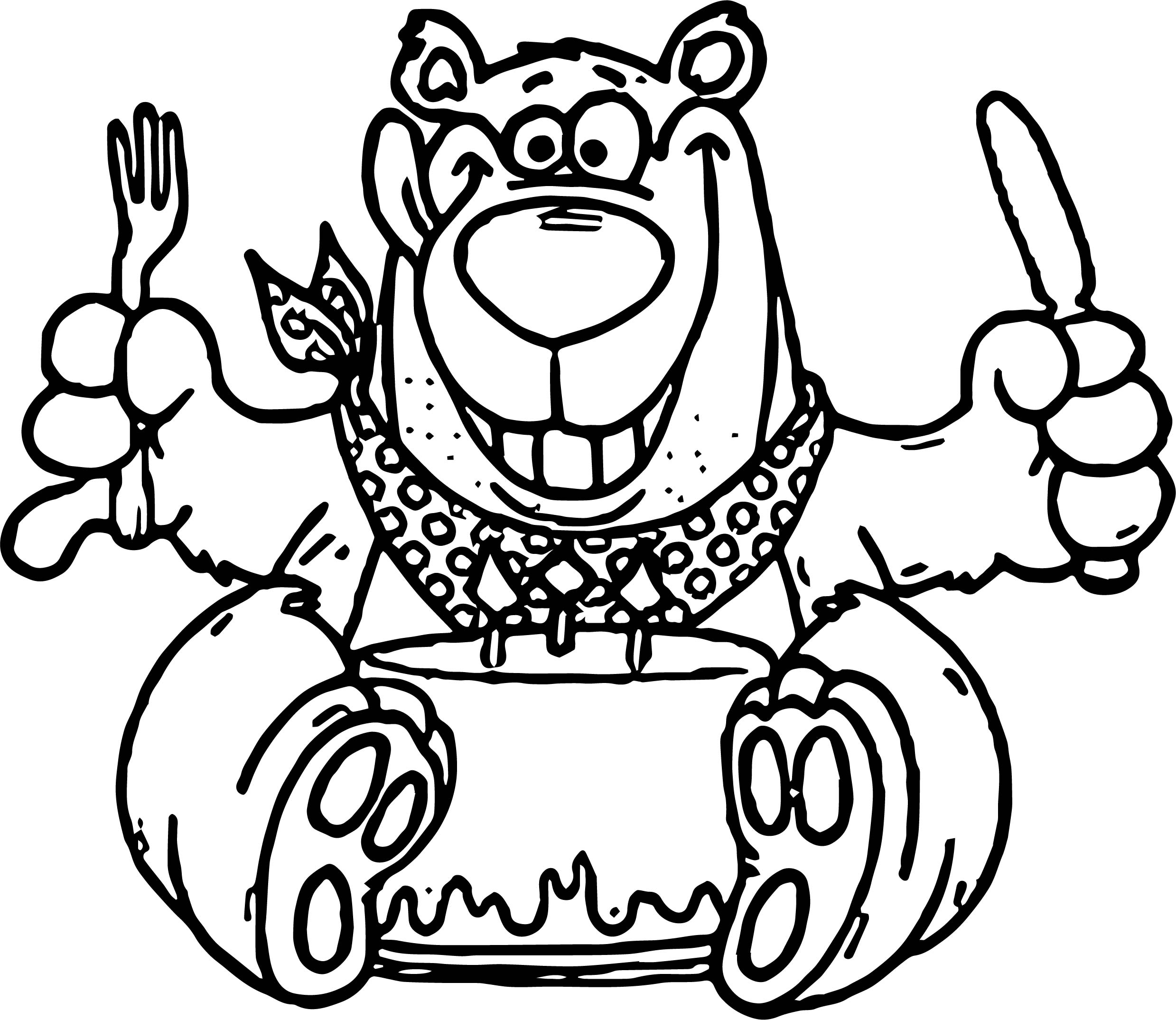 birthday coloring pages - birthday bear cake coloring page
