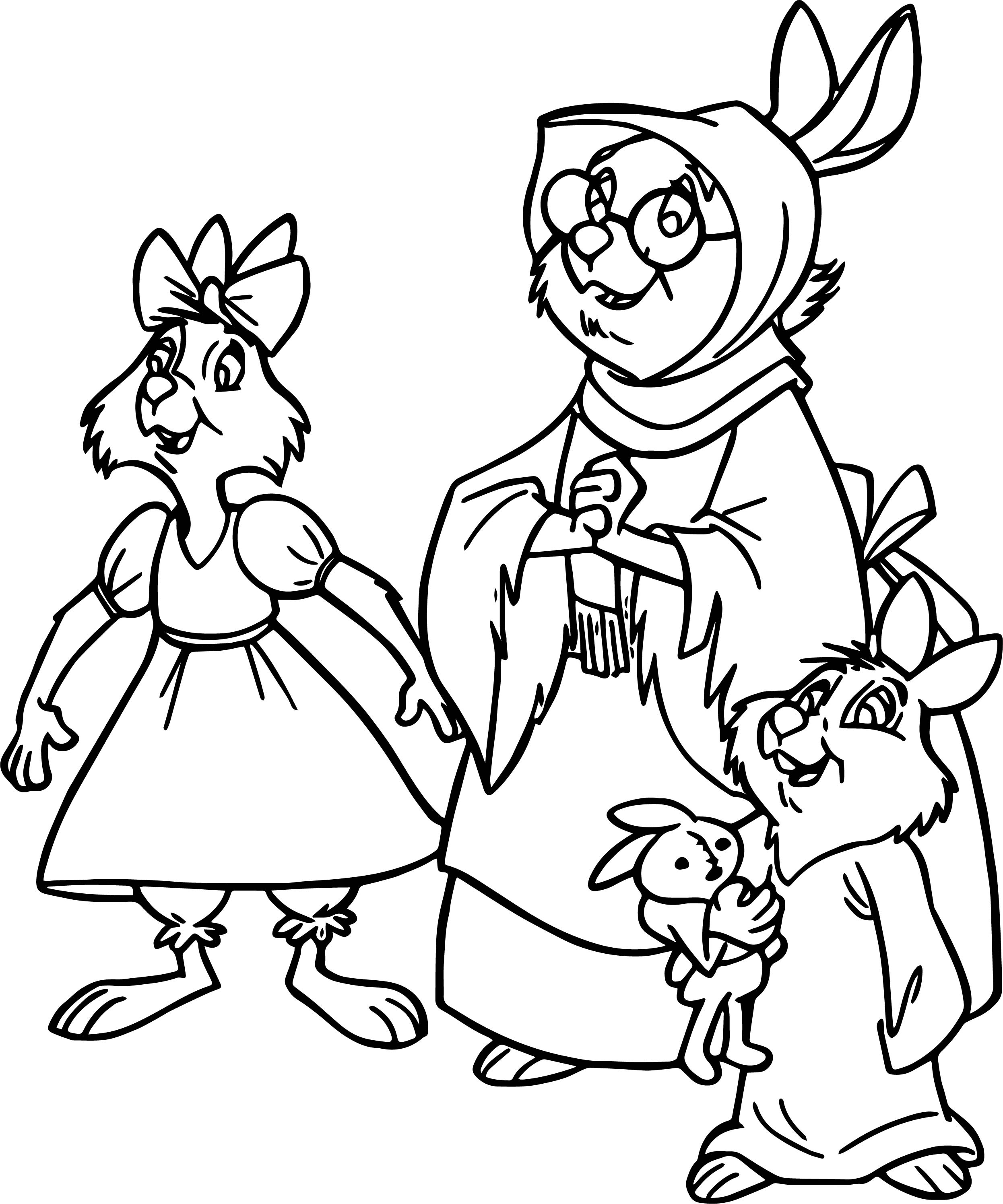 Bunny Family Coloring Page