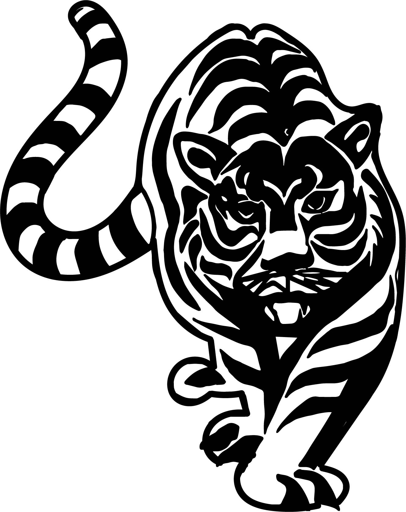 Coming Tiger Coloring Page