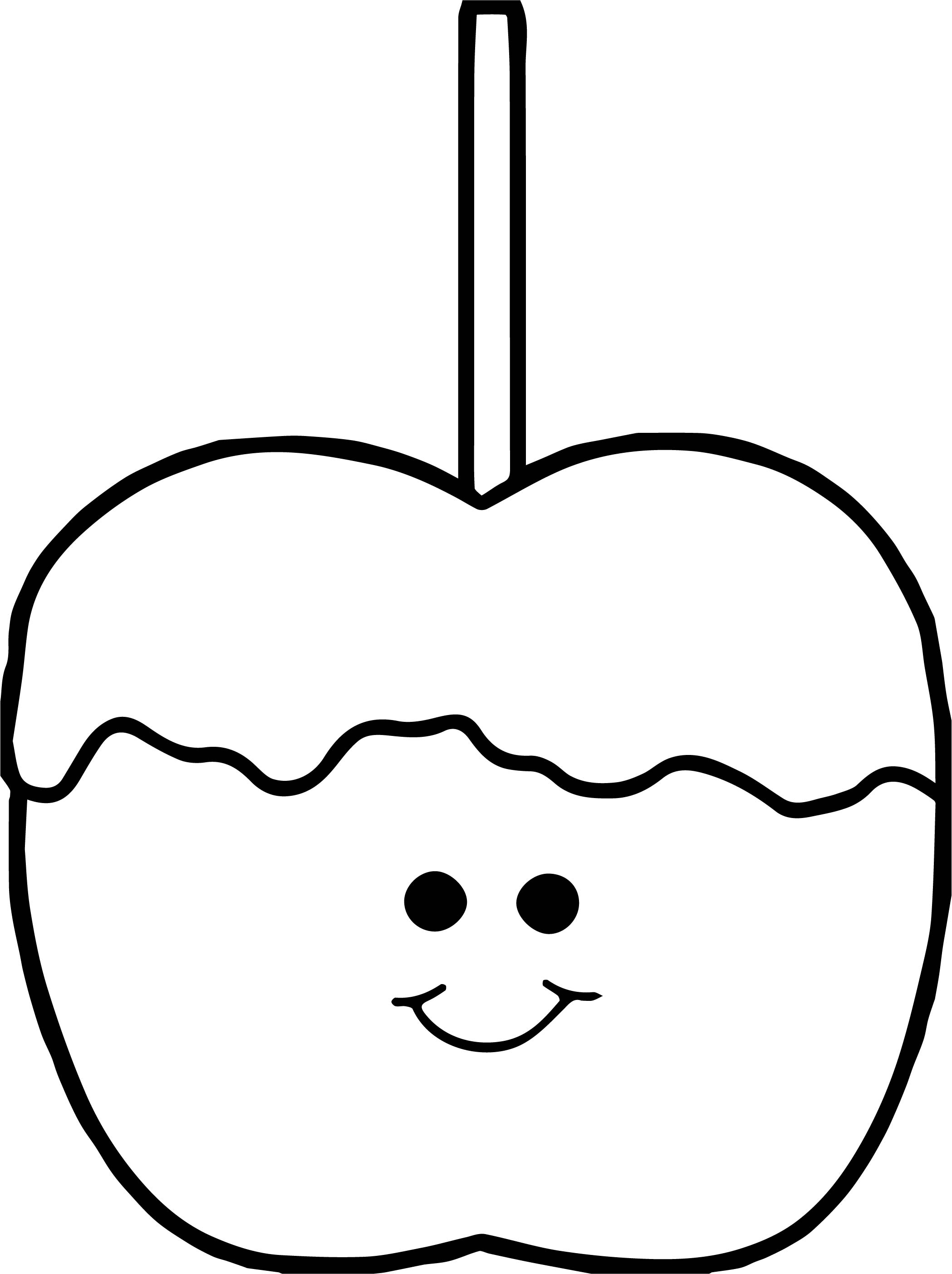 Cute Caramel Apple Coloring Page