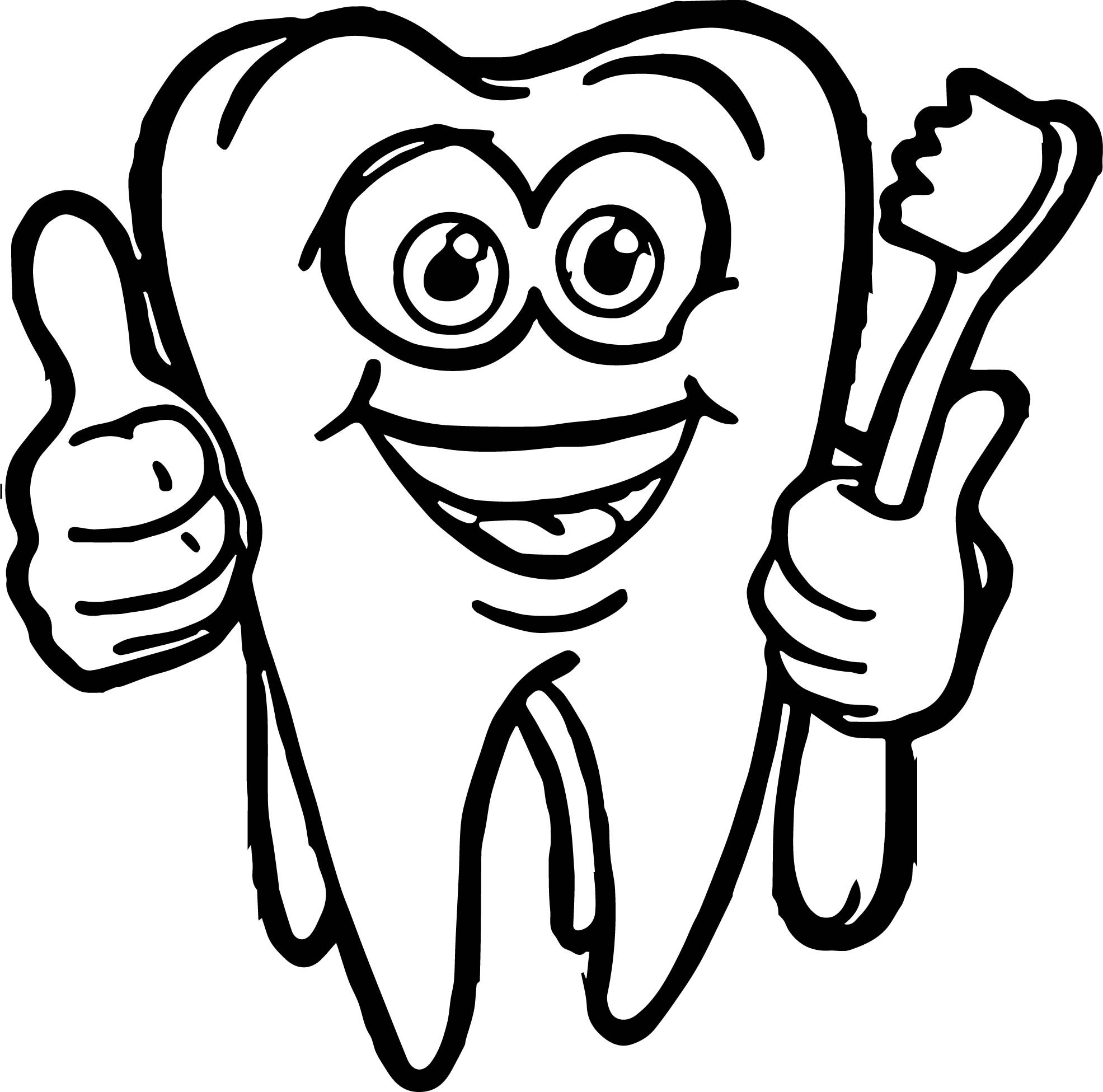 dental cartoon super tooth and brush coloring page wecoloringpage