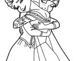 Elsa Anna Hugging Coloring Page