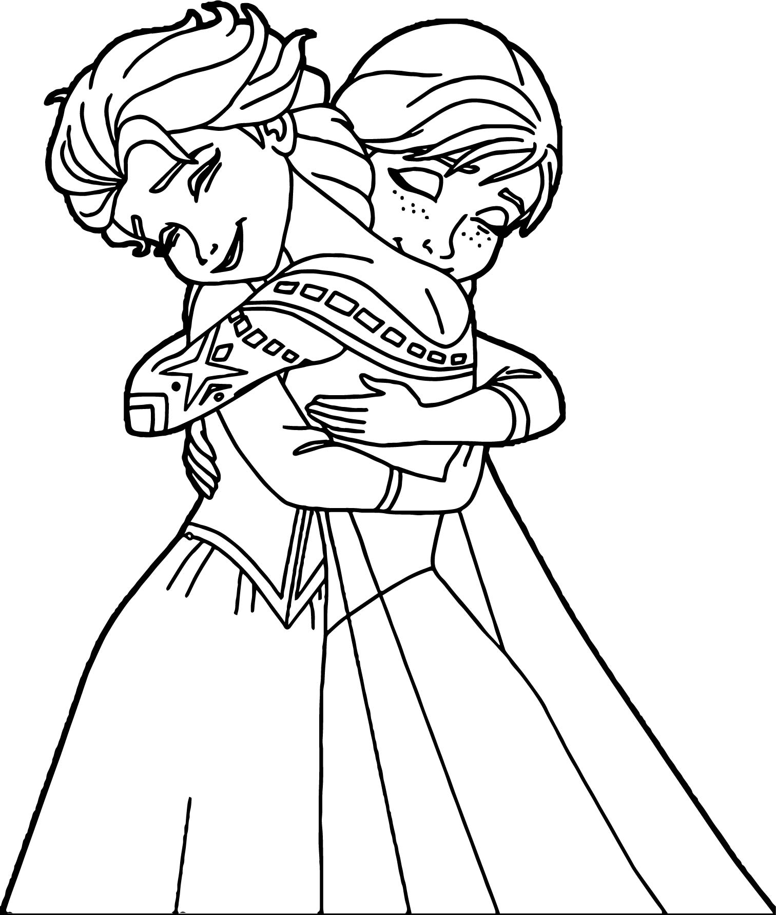 Elsa anna hugging coloring page for Elsa and anna coloring page
