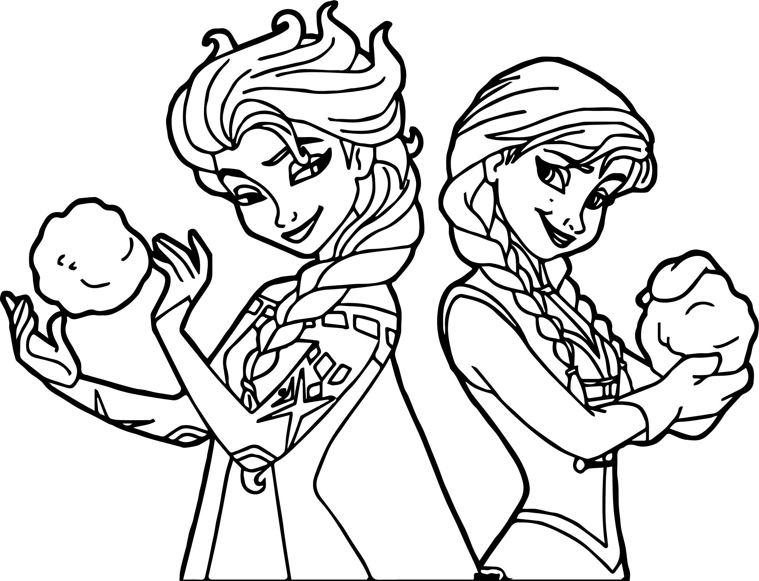 Elsa Anna Snowballs Coloring Page