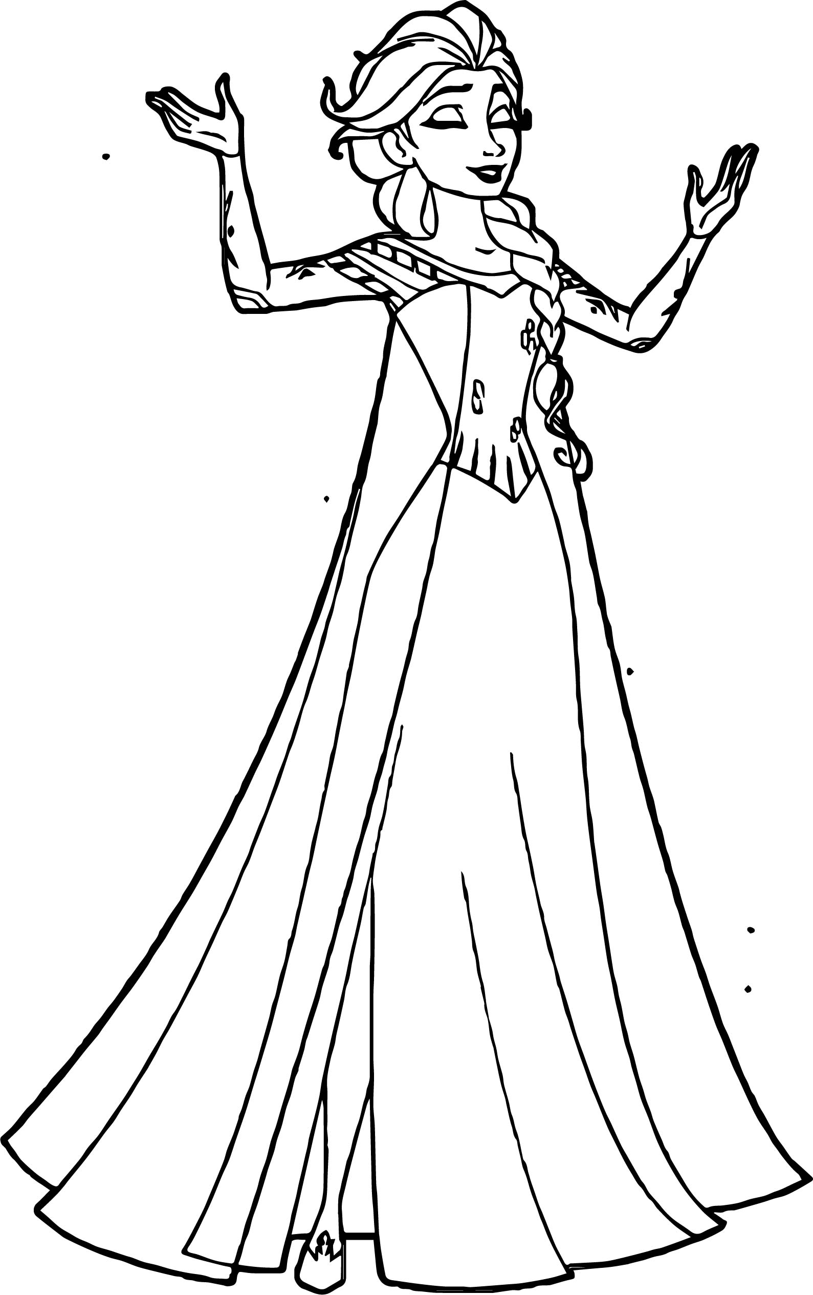 Elsa Happy Coloring Page