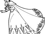 Elsa Queen Run Coloring Page